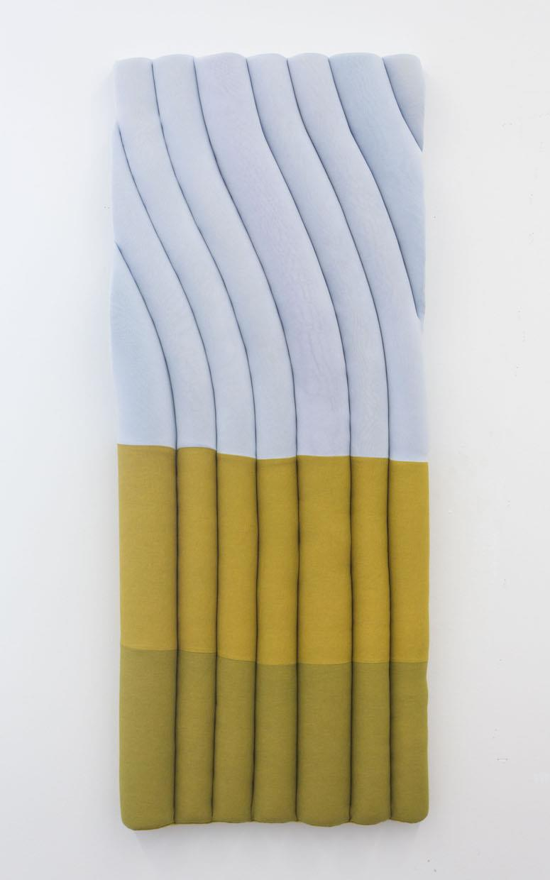 Fabric is hand-dyed using MX and soda ash. It is stretched over foam pool noodles to create its shape.