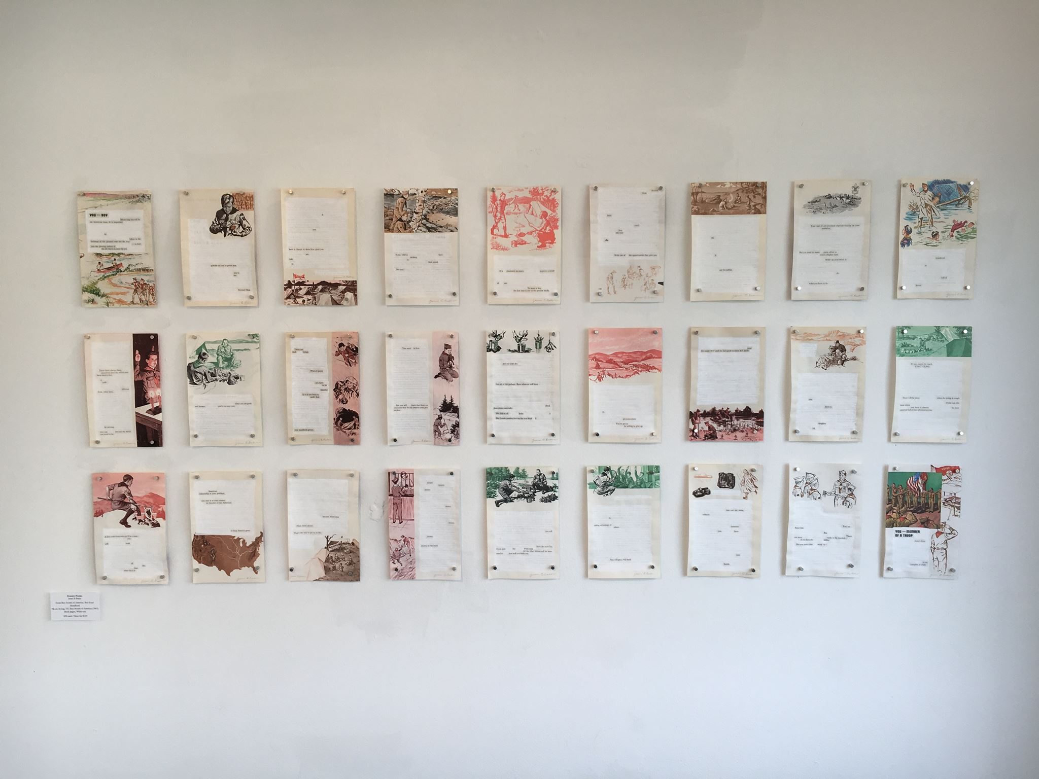 """Gallery wall featuring erasures from Jenni B Baker's """"Boy Book"""" series"""
