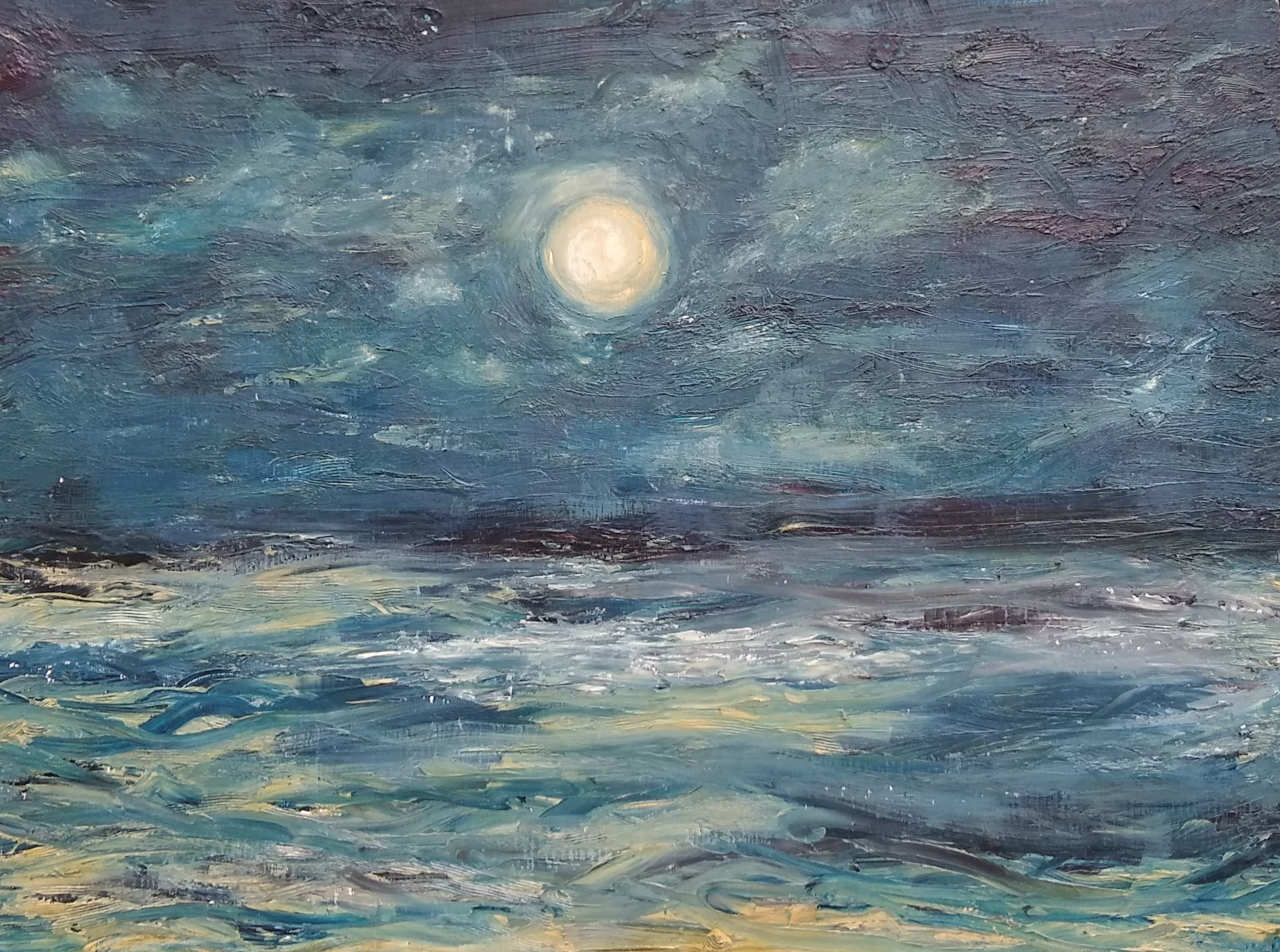 Breakup Moon, painted during the last night of a long relationship in four hours.