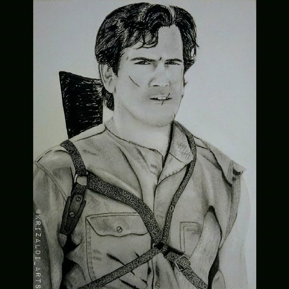 Bruce Campbell Ash Williams The Evil Dead Army of Darkness Ink Drawing