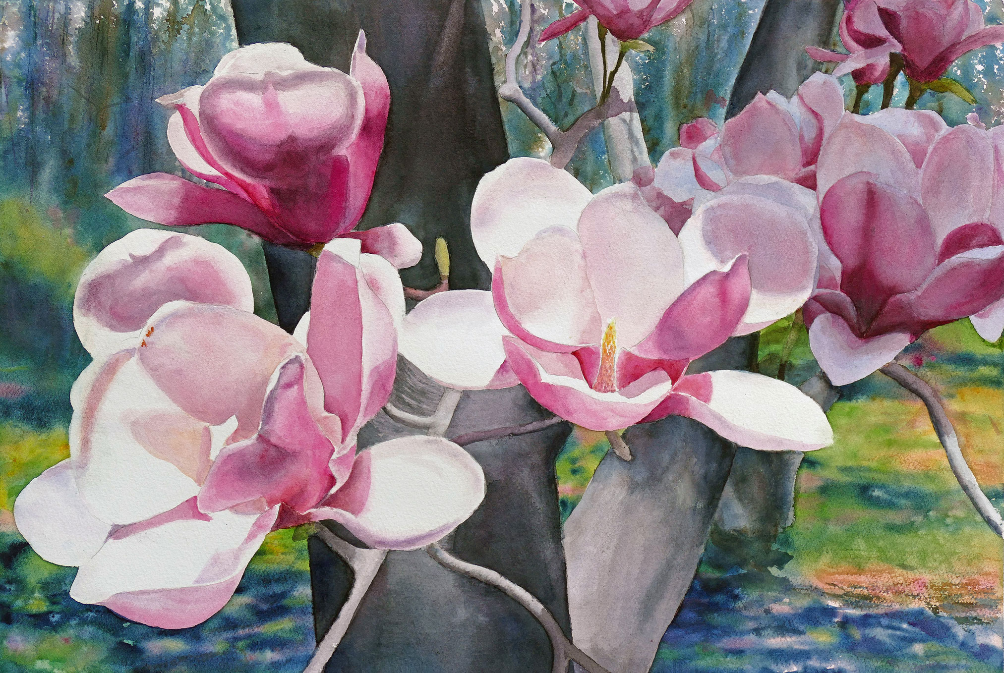 Magnolias on Parade, watercolor painting by Elizabeth Burin, floral, botanical, trees