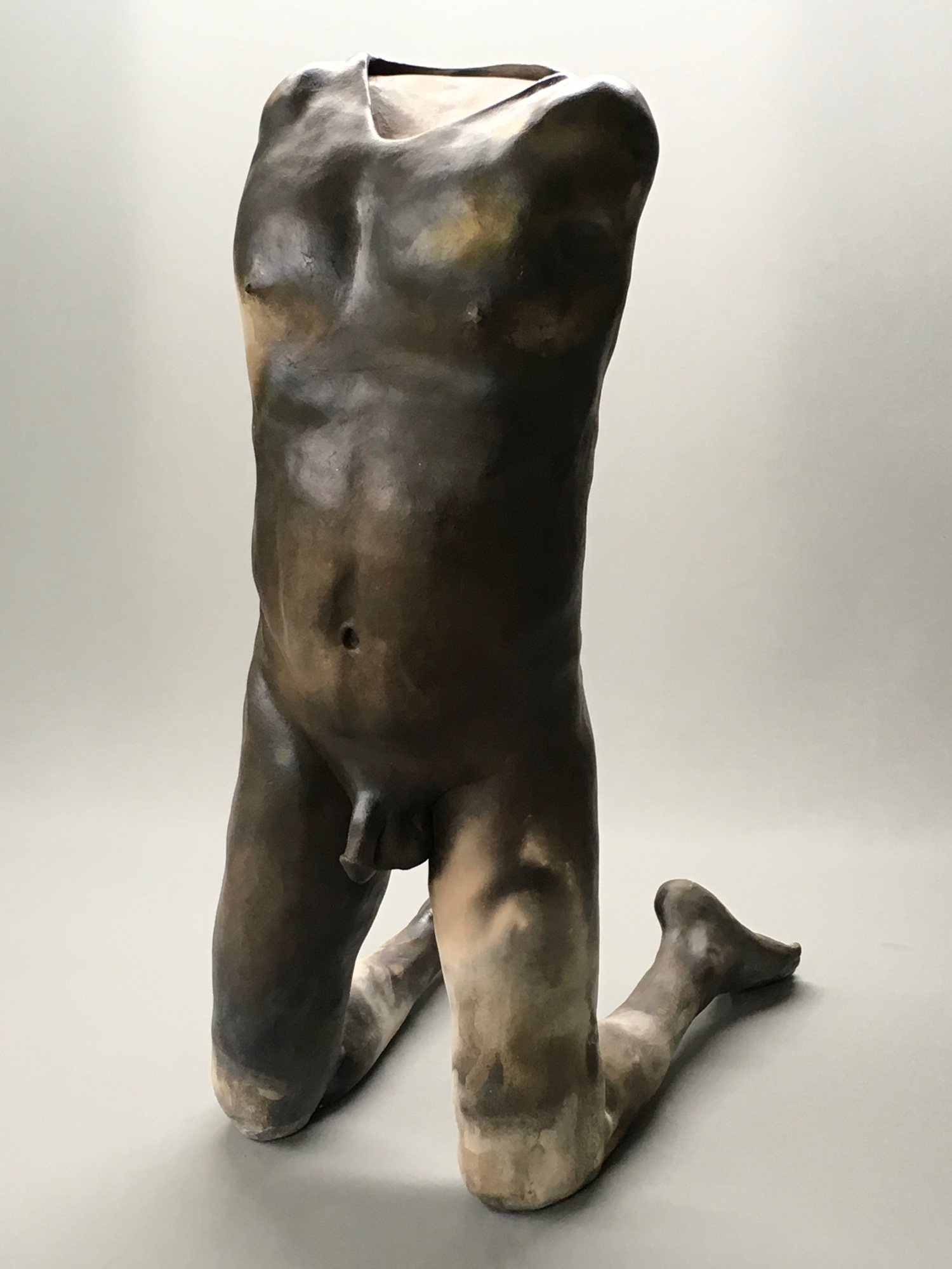 Pit-fired ceramic nude torso
