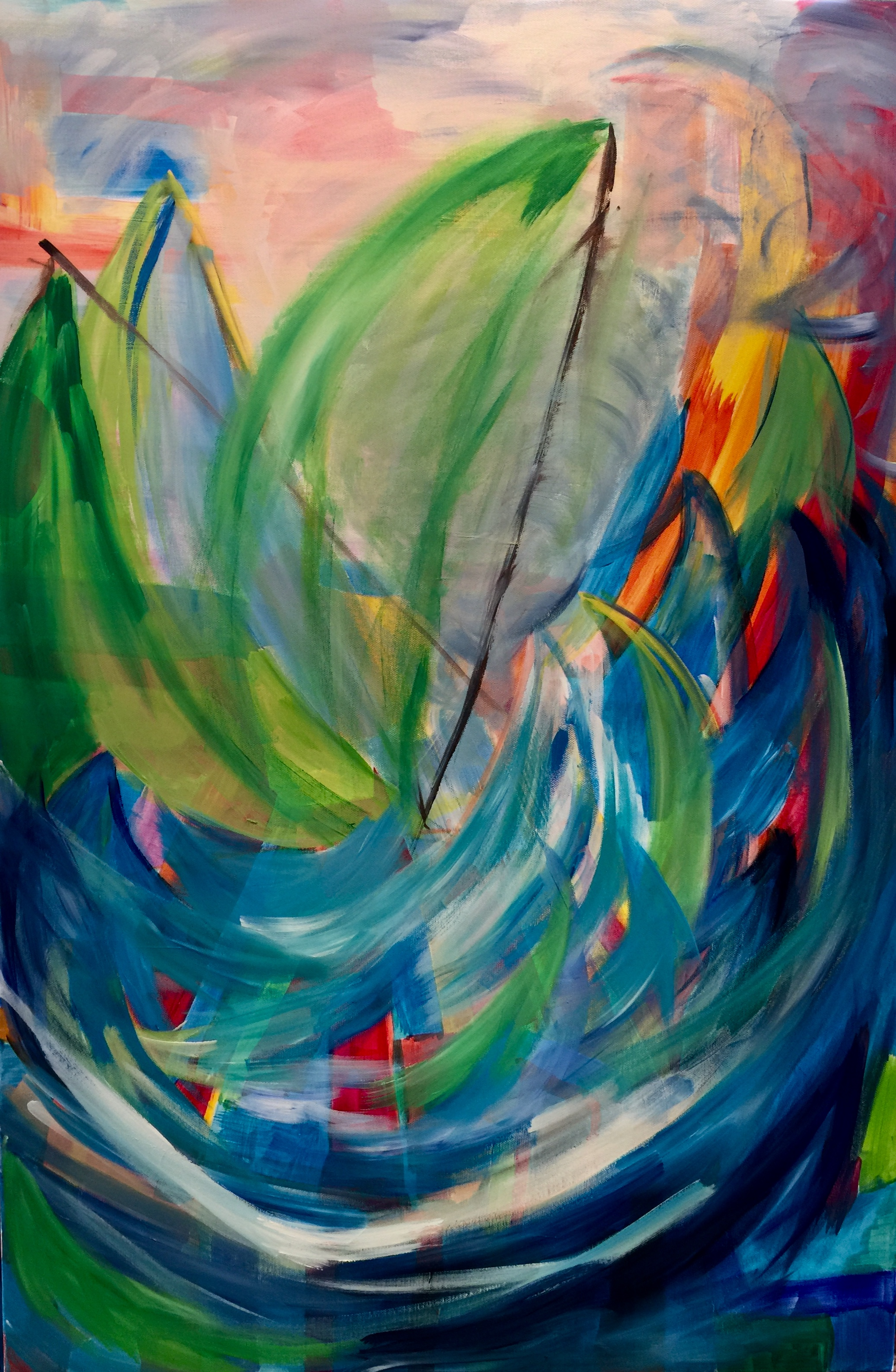 Kandinsky style painting by Maria-Victoria Checa of seascape