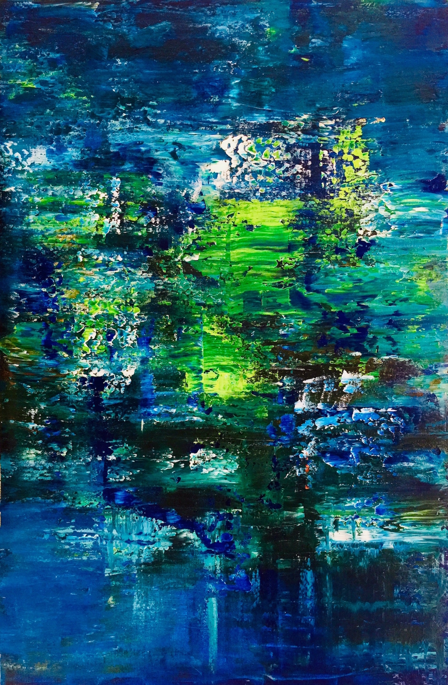 Abstract painting of waters by Maria-Victoria Checa At Gerhard Richter style