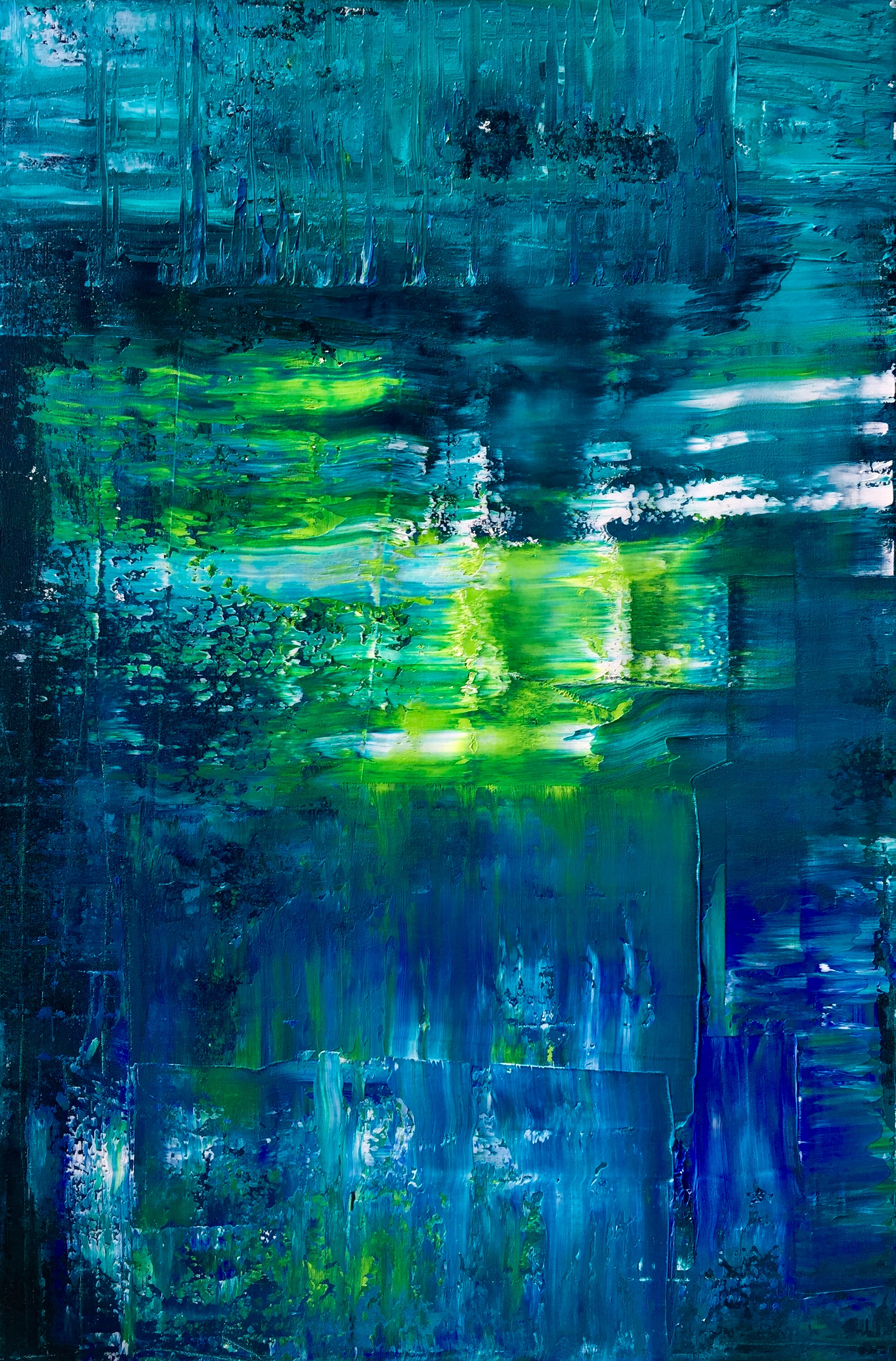 abstract painting of waters by Maria-Victoria Checa Art Gerhard Richter style