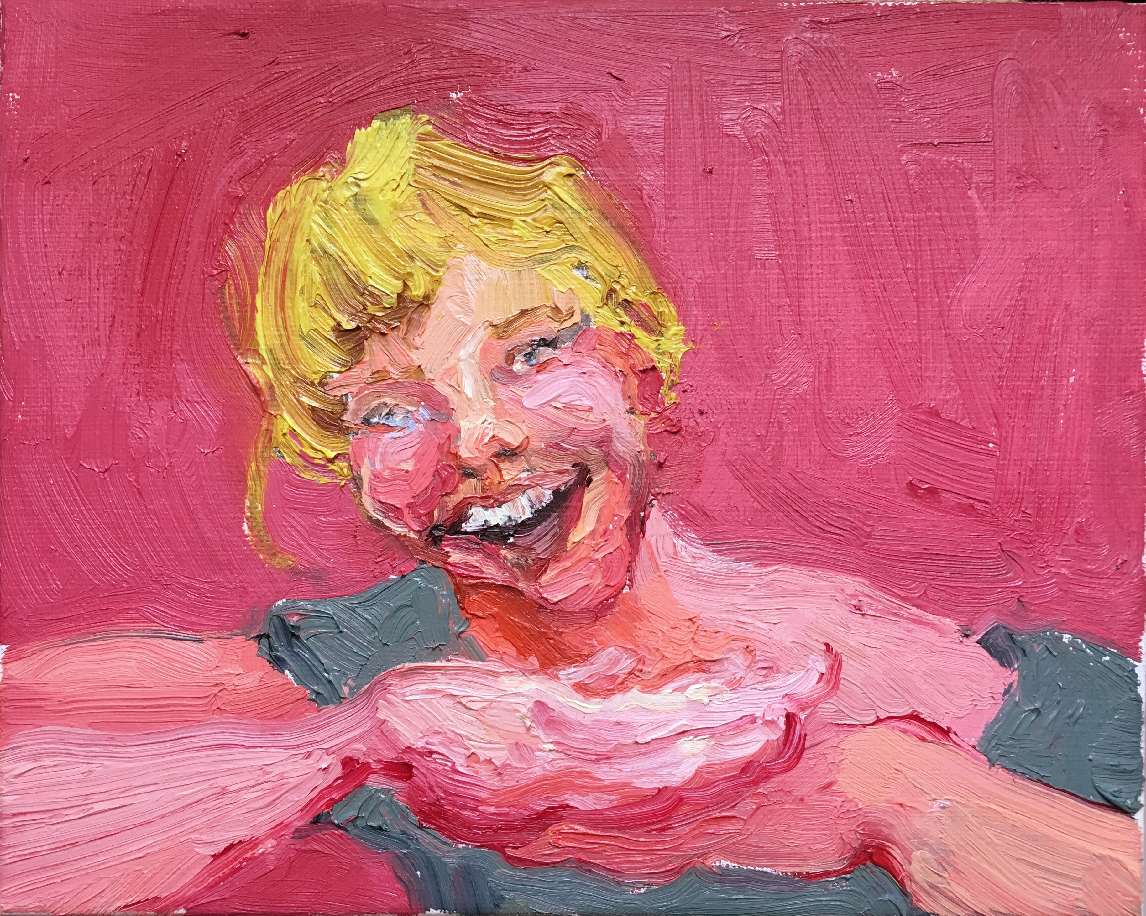 A vibrant pink and orange oil painting portrait of a blonde girl smiling aggressively, posing with hands under chin.