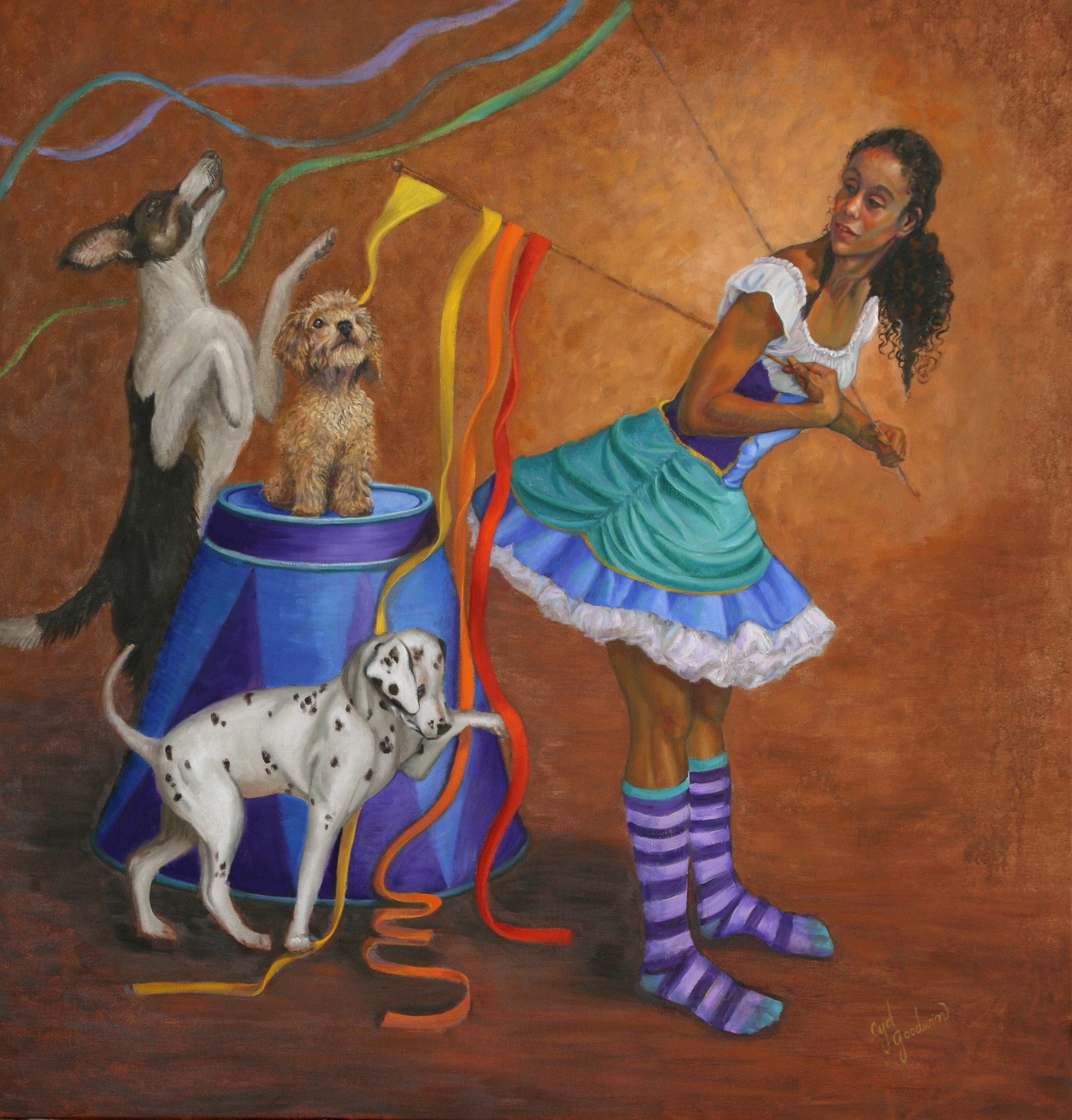 Female with ribbon wands and 3 puppies