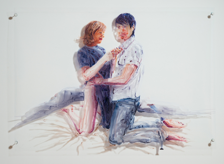 portrait of lesbian couple on bed, painted on clear mylar