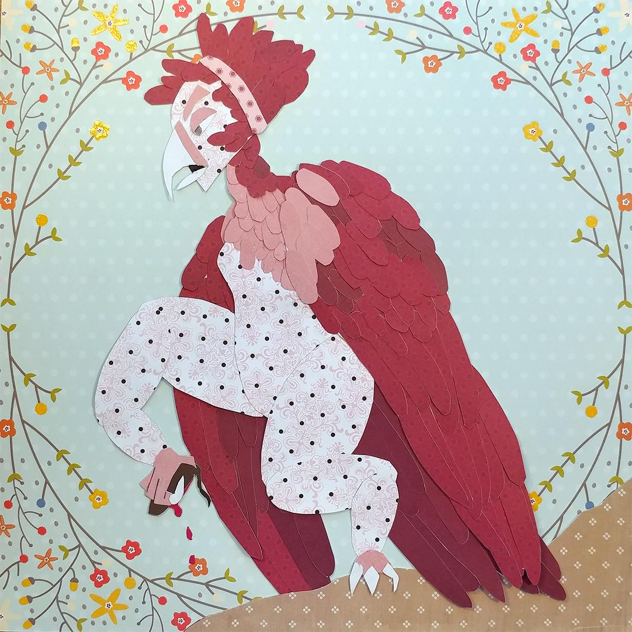 This Harpy was first sketched out in a sketchpad, then traced using tracing paper. Various card stock papers were gathered, and