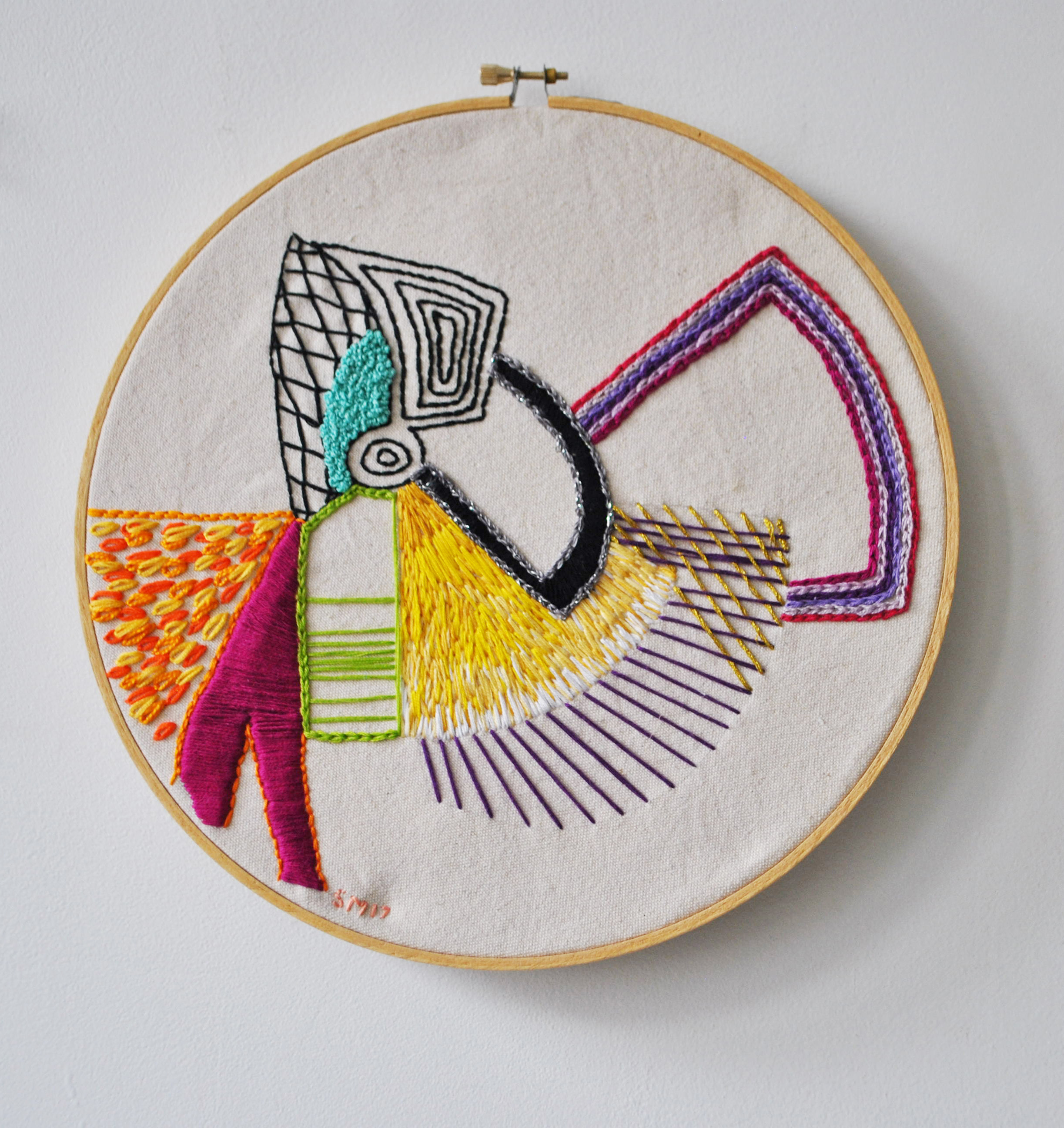 hand embroidery, embroidery, Sarah Magida, design, abstract
