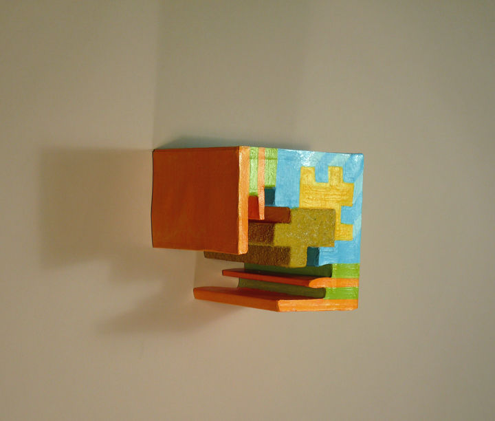 acrylic paint on paper on foam core wall hung sculpture