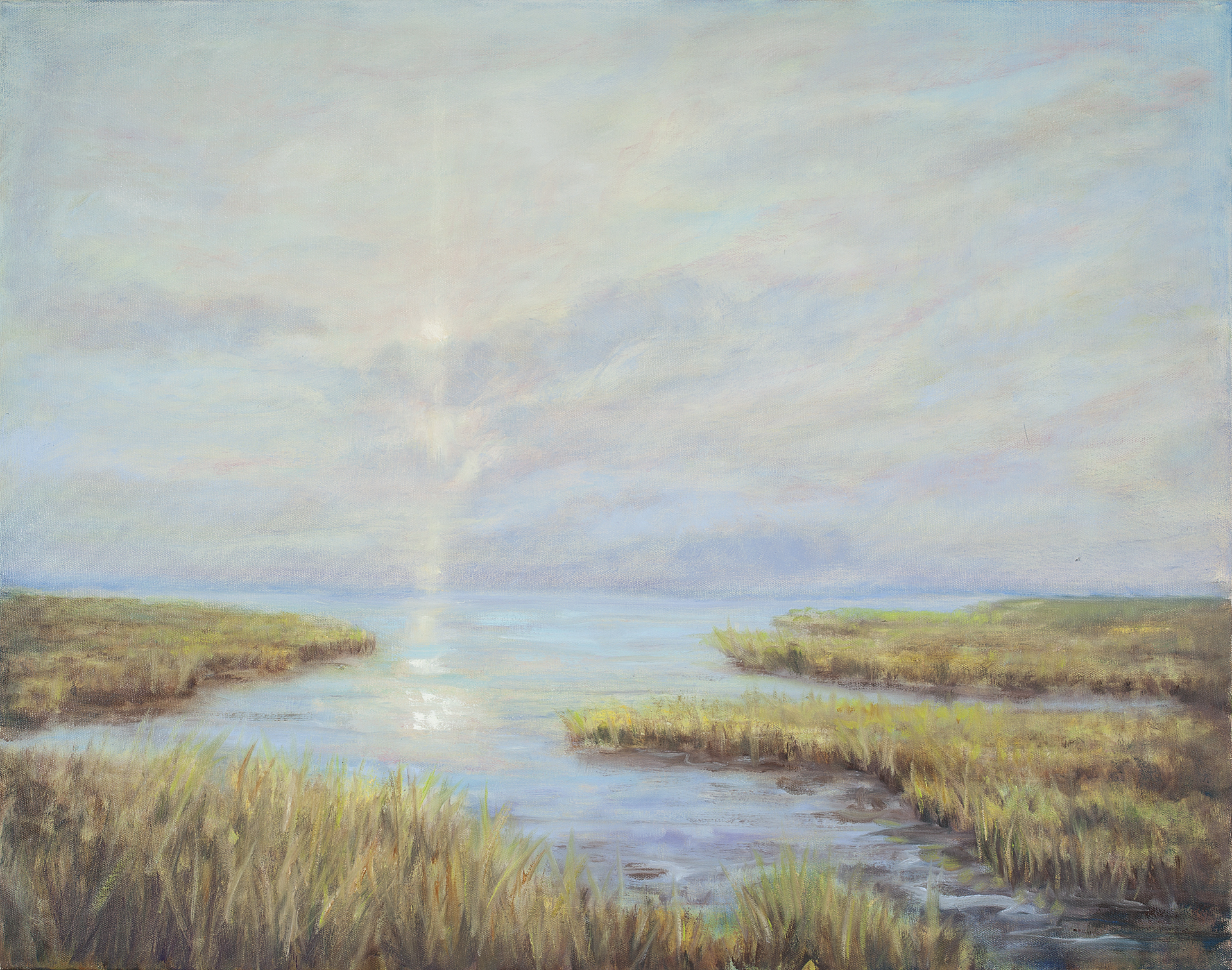 Sunlit Marsh , sunset , marsh painting, eastern shore landscape