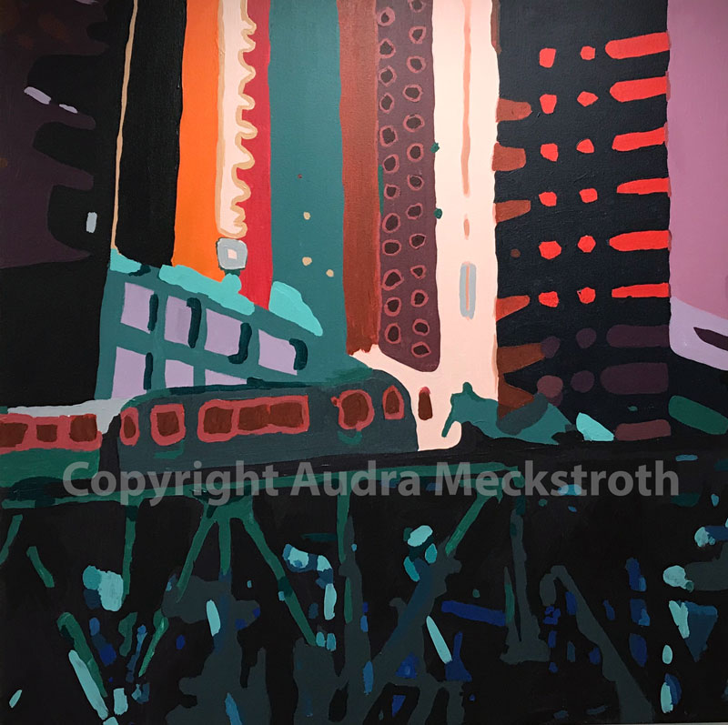 Brightly colored abstract painting of a raised train platform in downtown Chicago