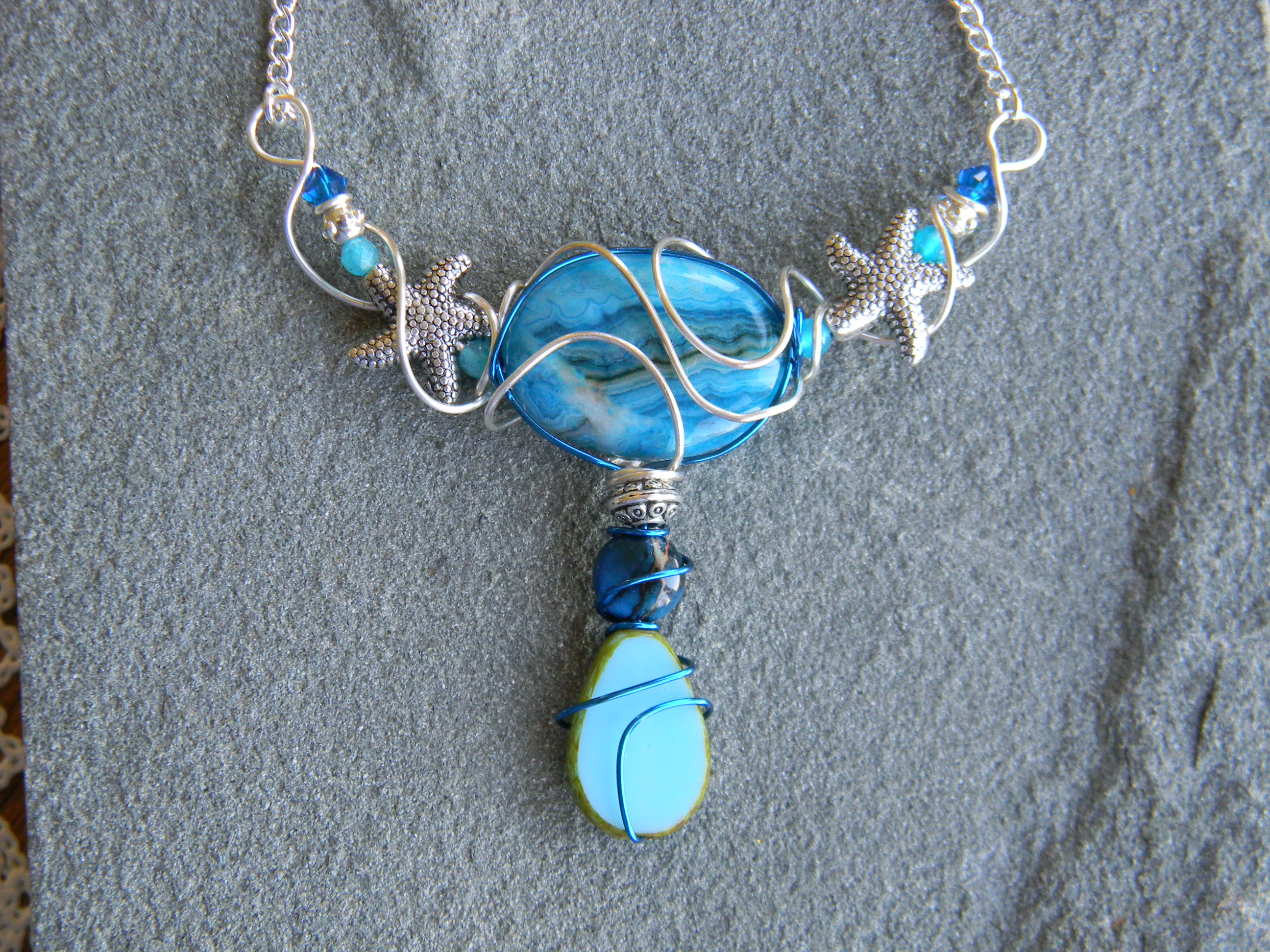 Blue jasper and glass goddess inspired necklace