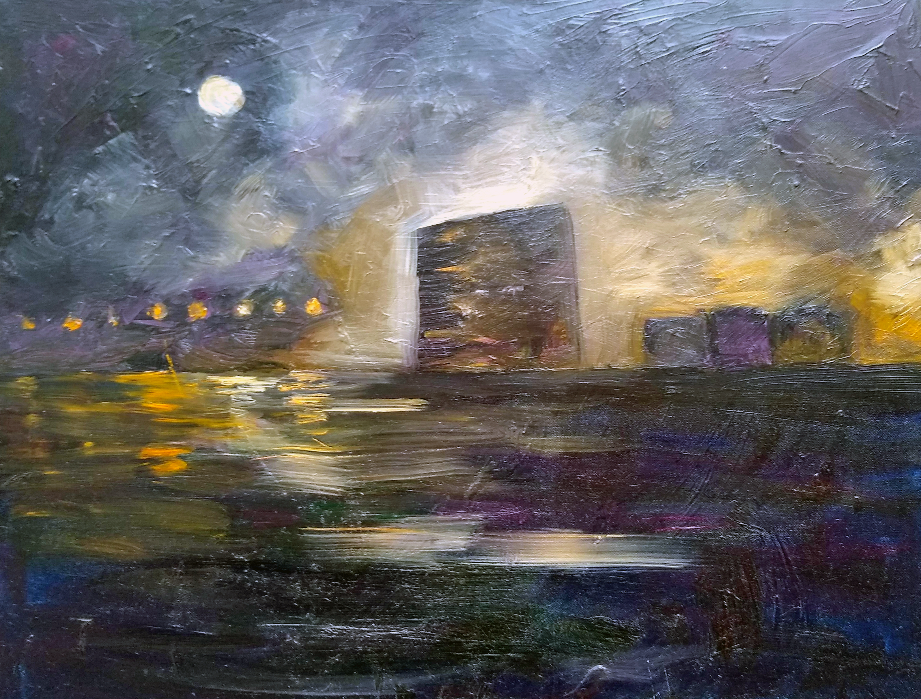 Oil painting by Amy Ford Baltimore Skylikne Silo Point under construction