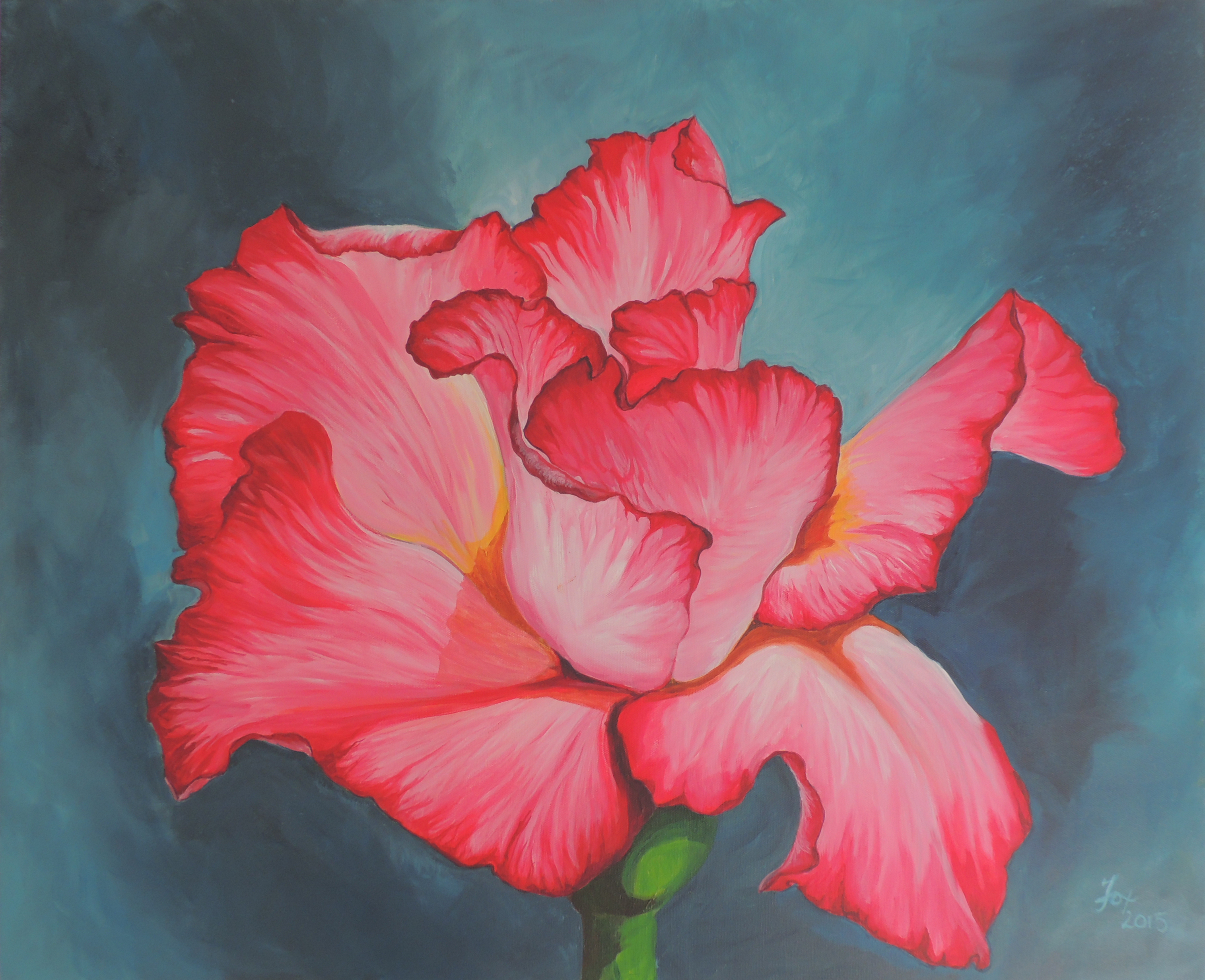 painting flower acrylic on canvas large format