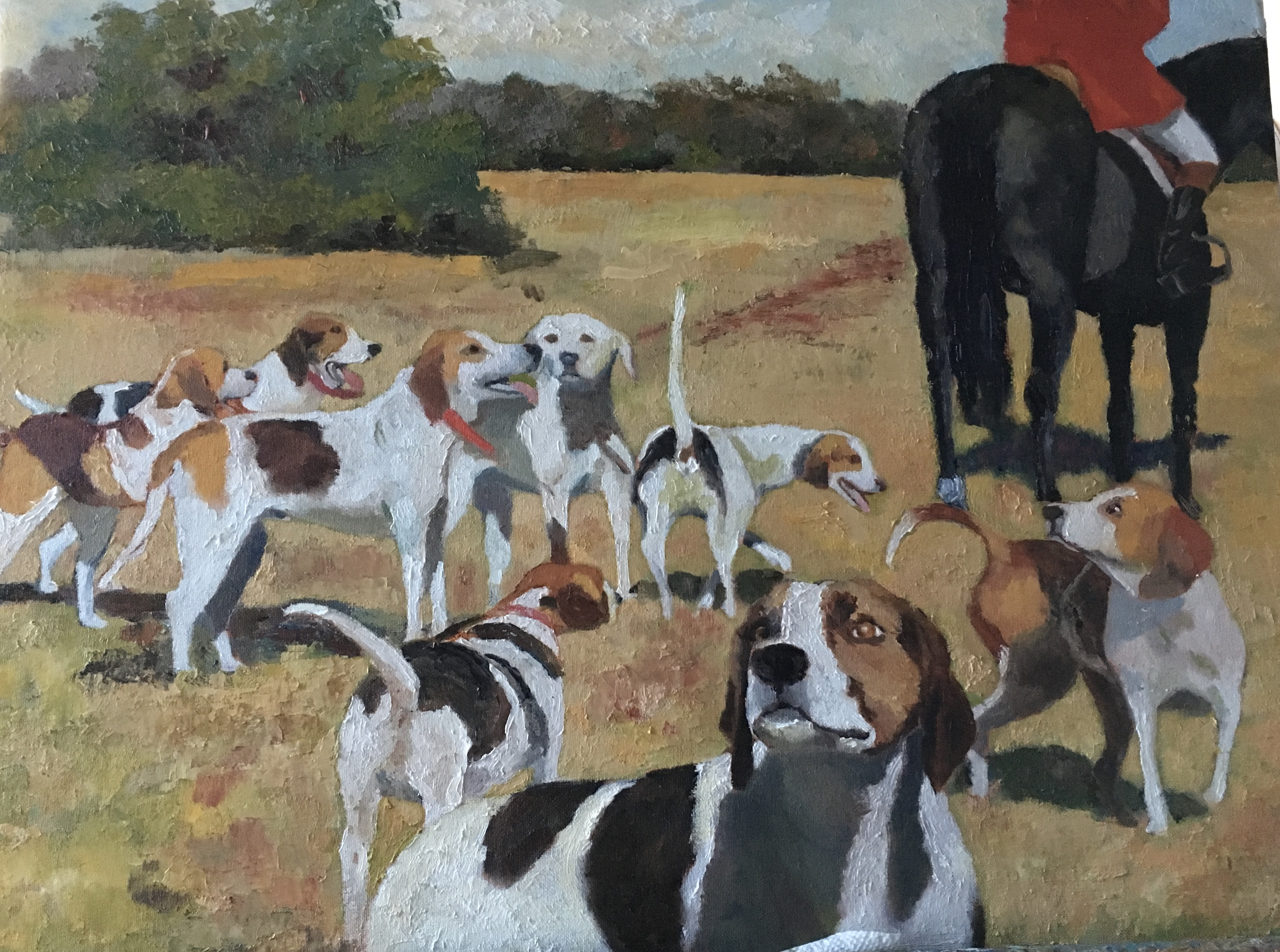 Figurative oil on canvas Hounds and Horse