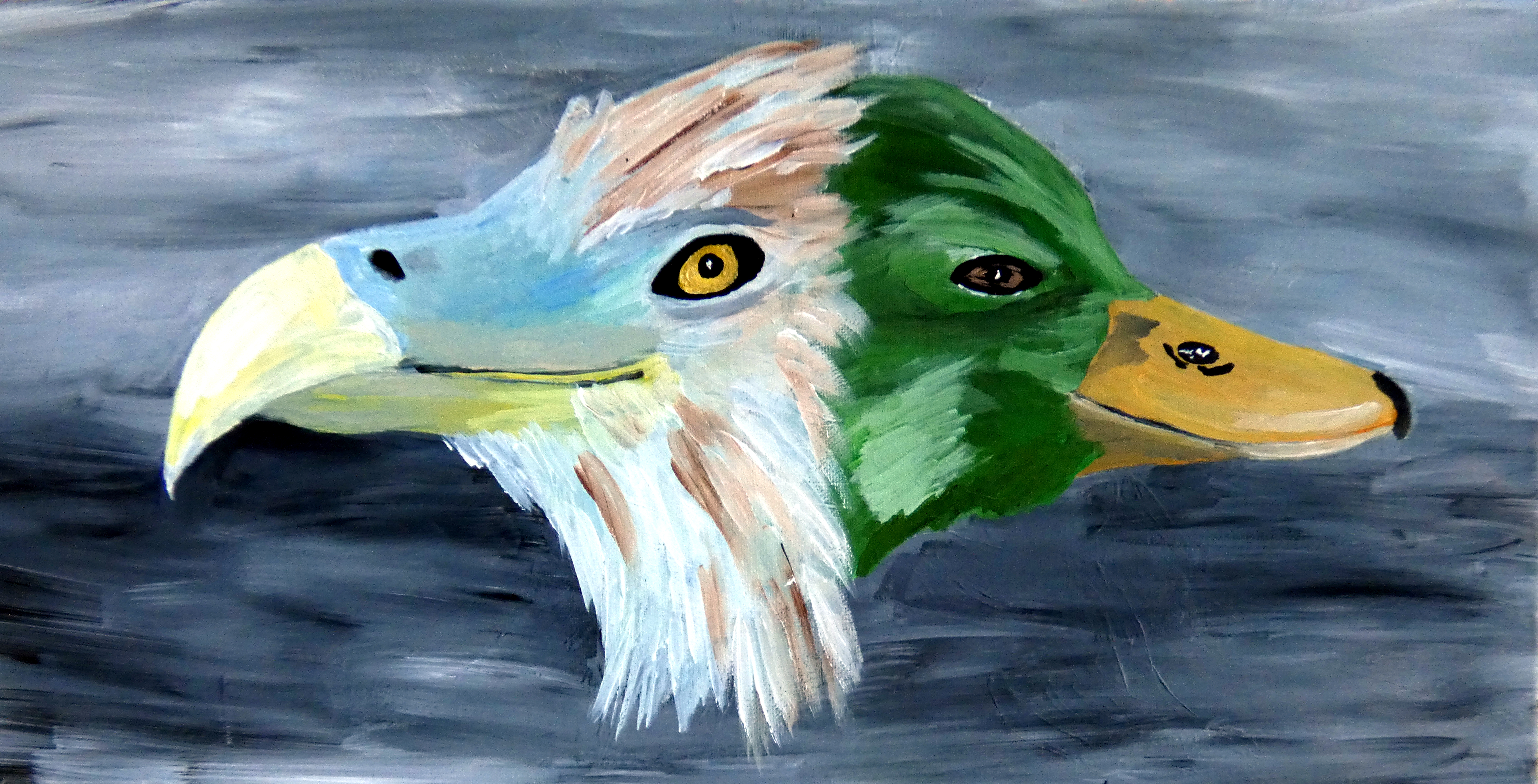 An acrylic painting of an Eagle and a Duck, blended together.