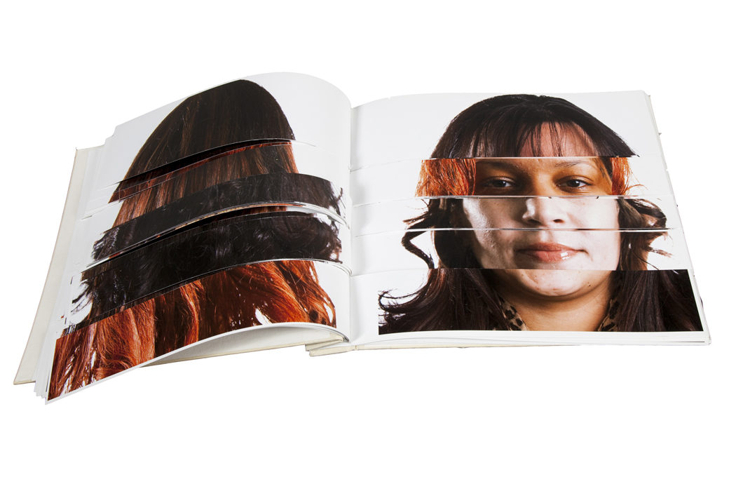 "Cadavre Esquis Artists Book made of the faces of participants in the ""Exquisite Lumbees"" series"