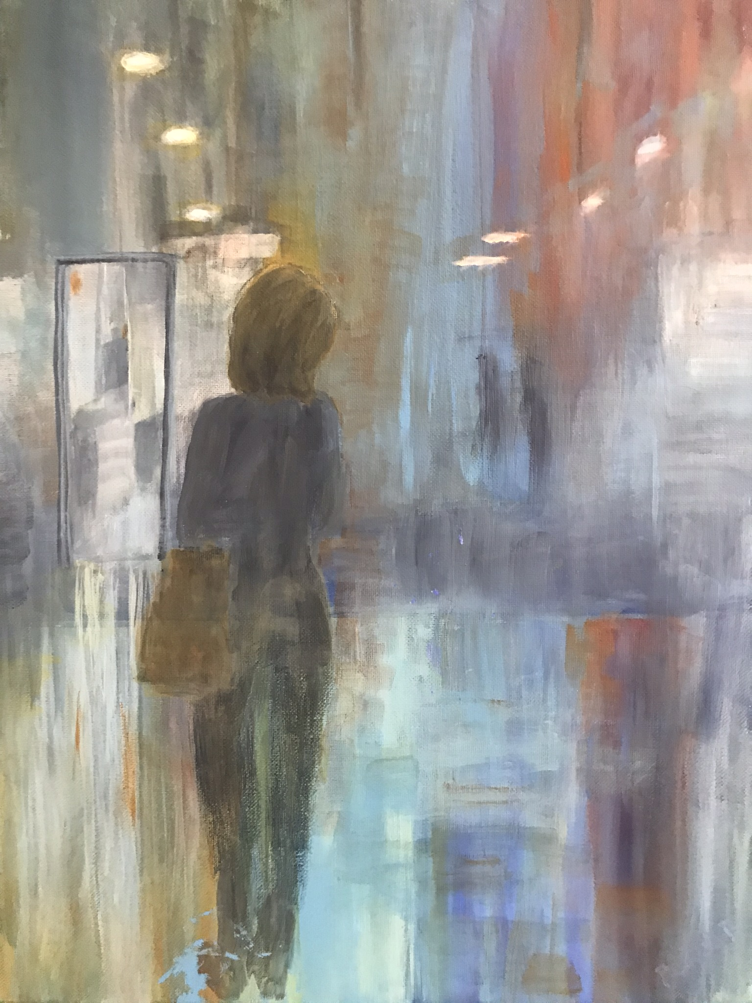 Expressionism. Woman turning a corner
