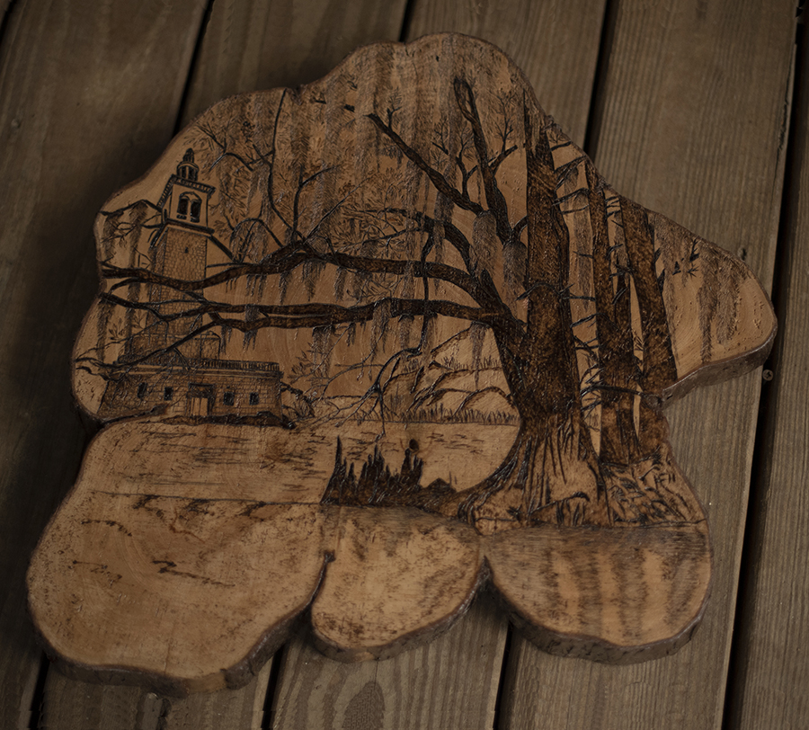 Stephen Foster Memorial is a unique, handmade wood burned art