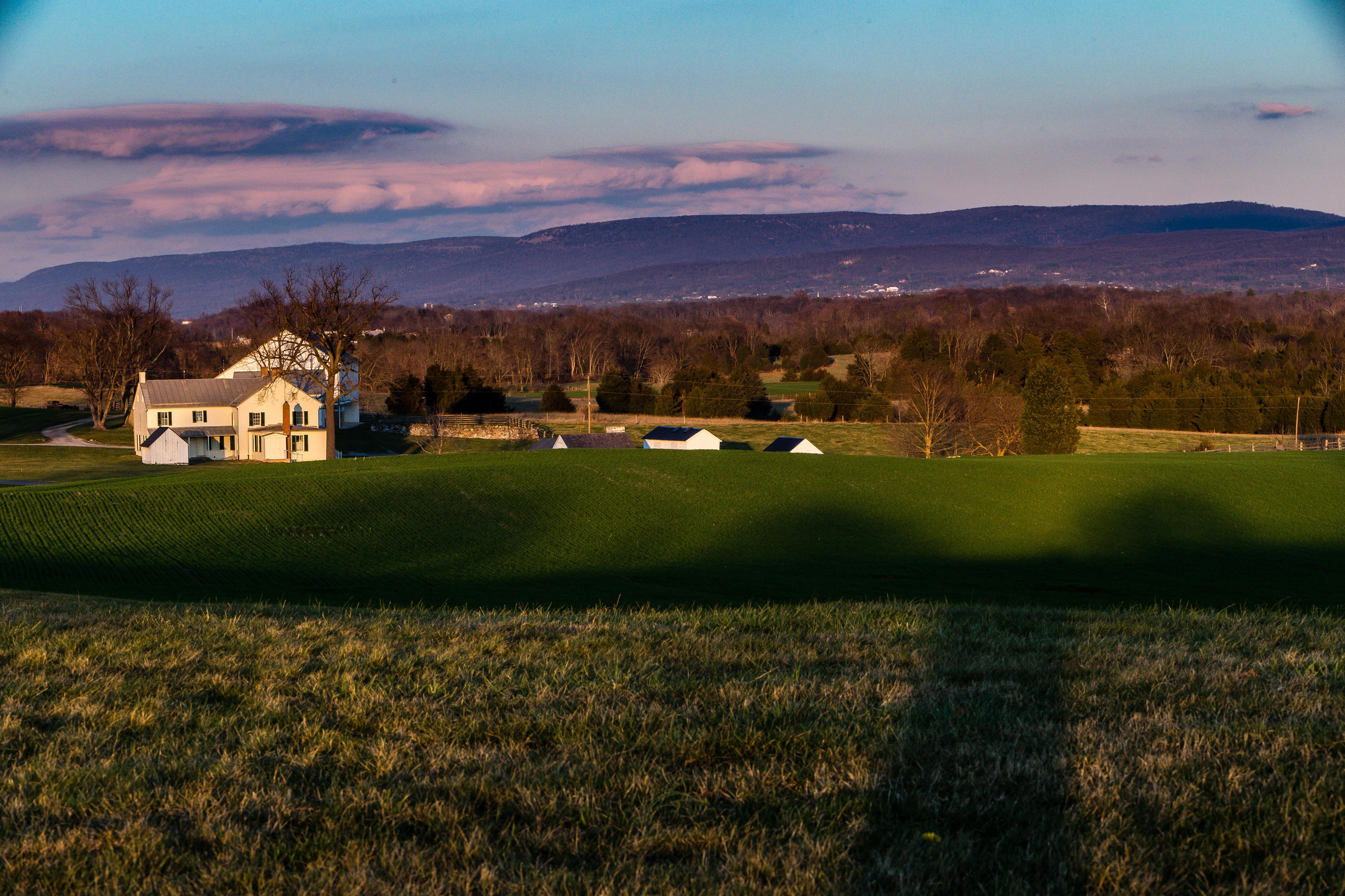 Sunset on farmhouse at Antietam