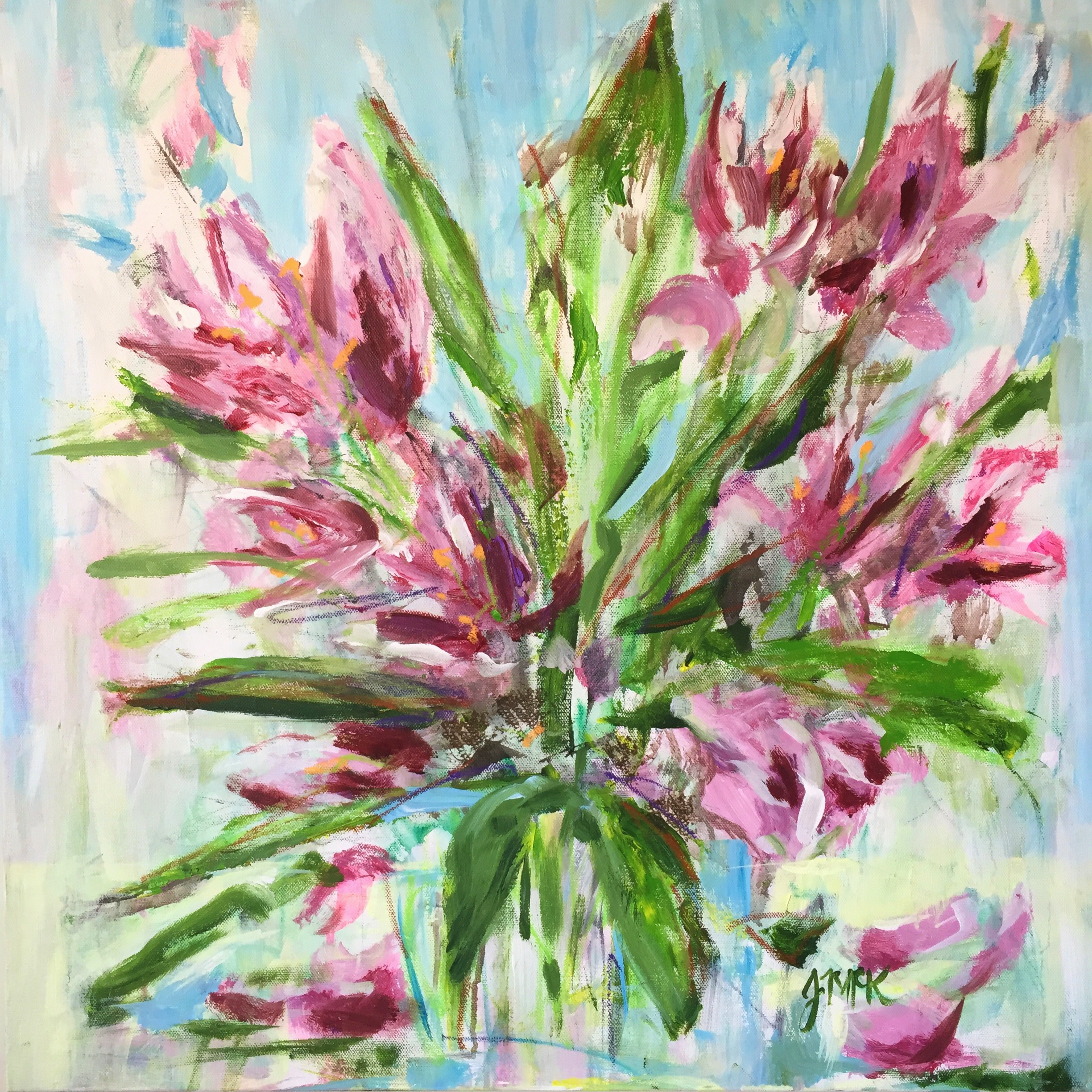 abstract painting of tulip flowers beginning to fade