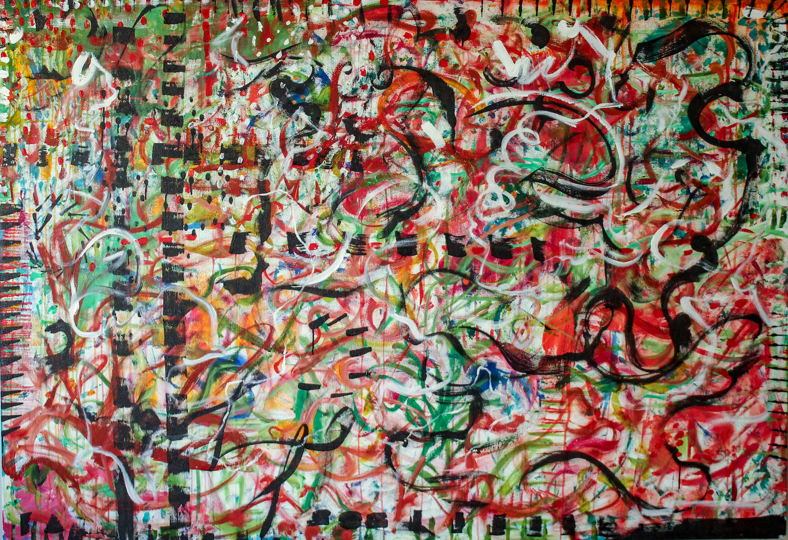Predominantly red, black, and green abstract lines and shapes on canvas, with a black-lined border