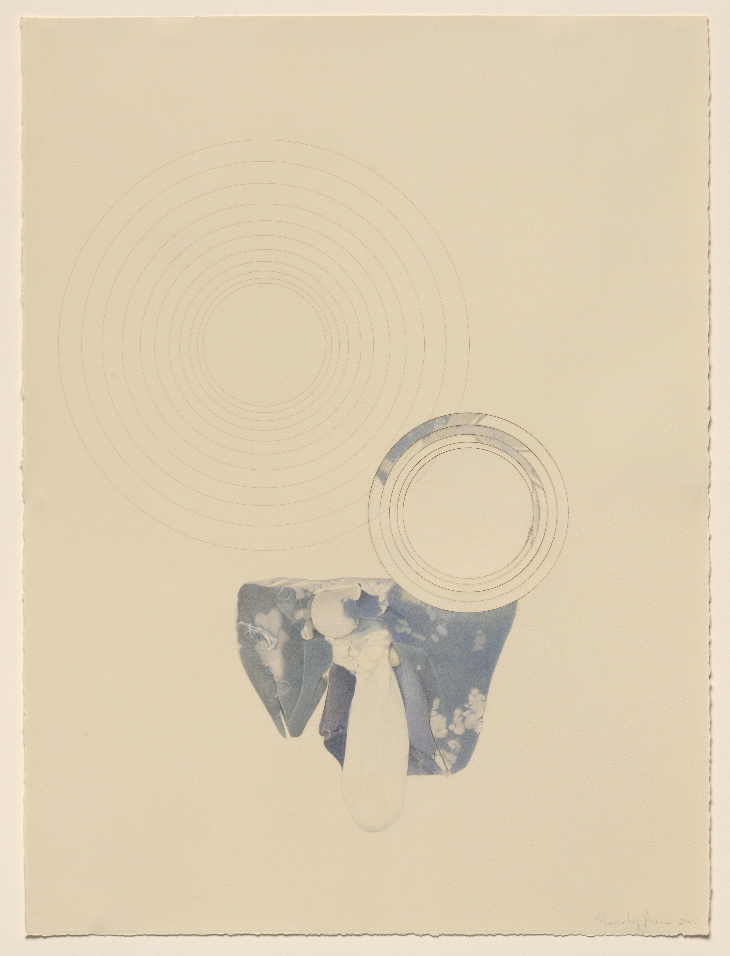 Representational drawing of a liver, on Arches paper, laser-cut and laser-etched.