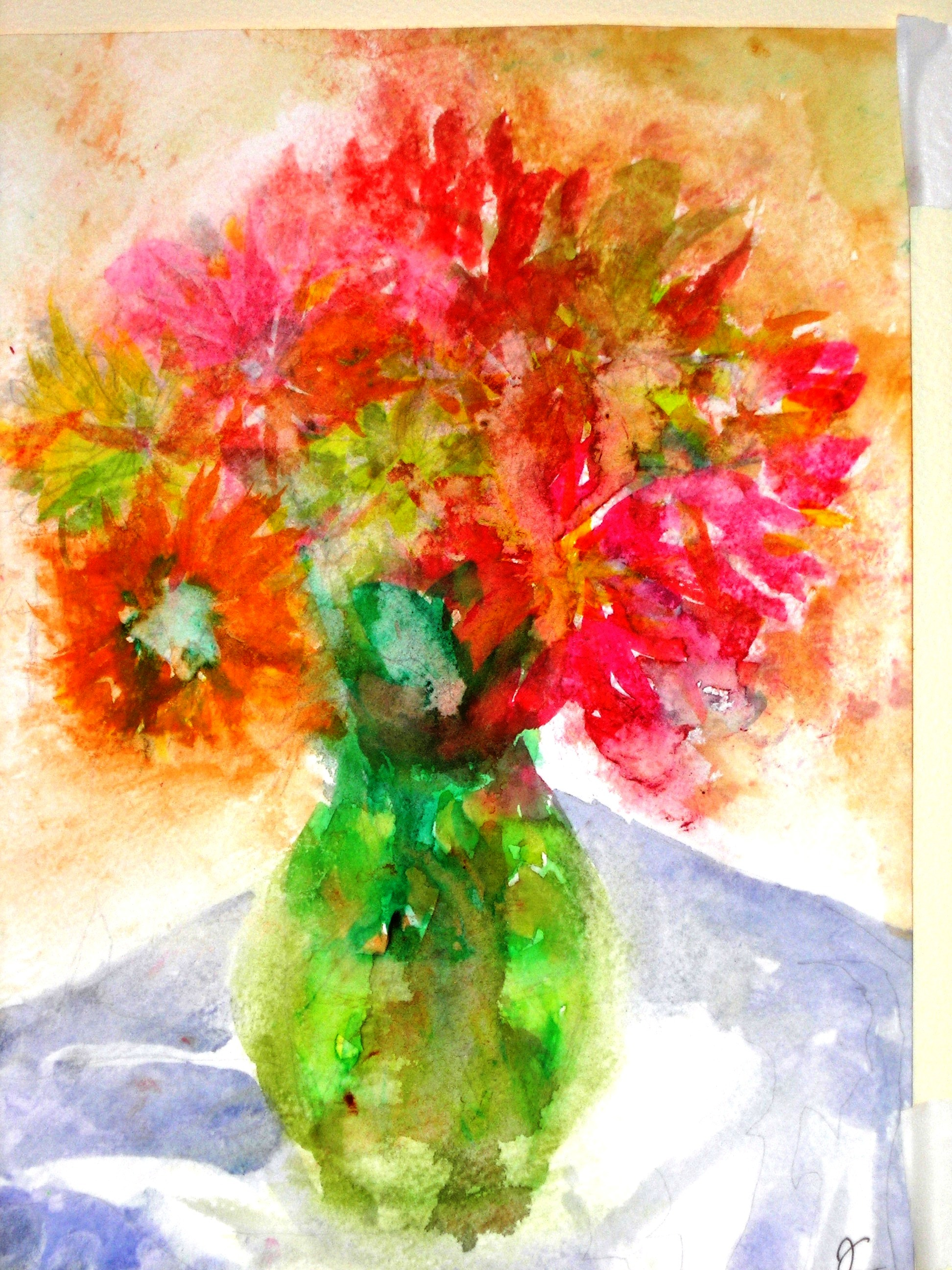 Bouquet in clear green vase