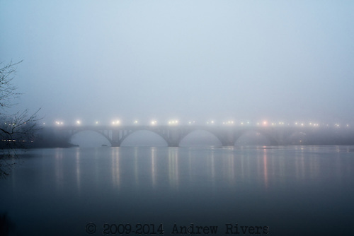 Foggy, Georgetown, Key Bridge, MD, Morning, Potomac River, VA, Washington D.C., Water, Winter