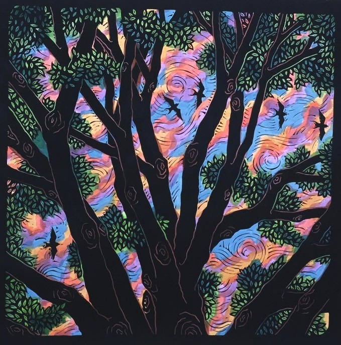 Forest Canopy by Anita Hagan - Mixed media - Linoleum block print and acrylic