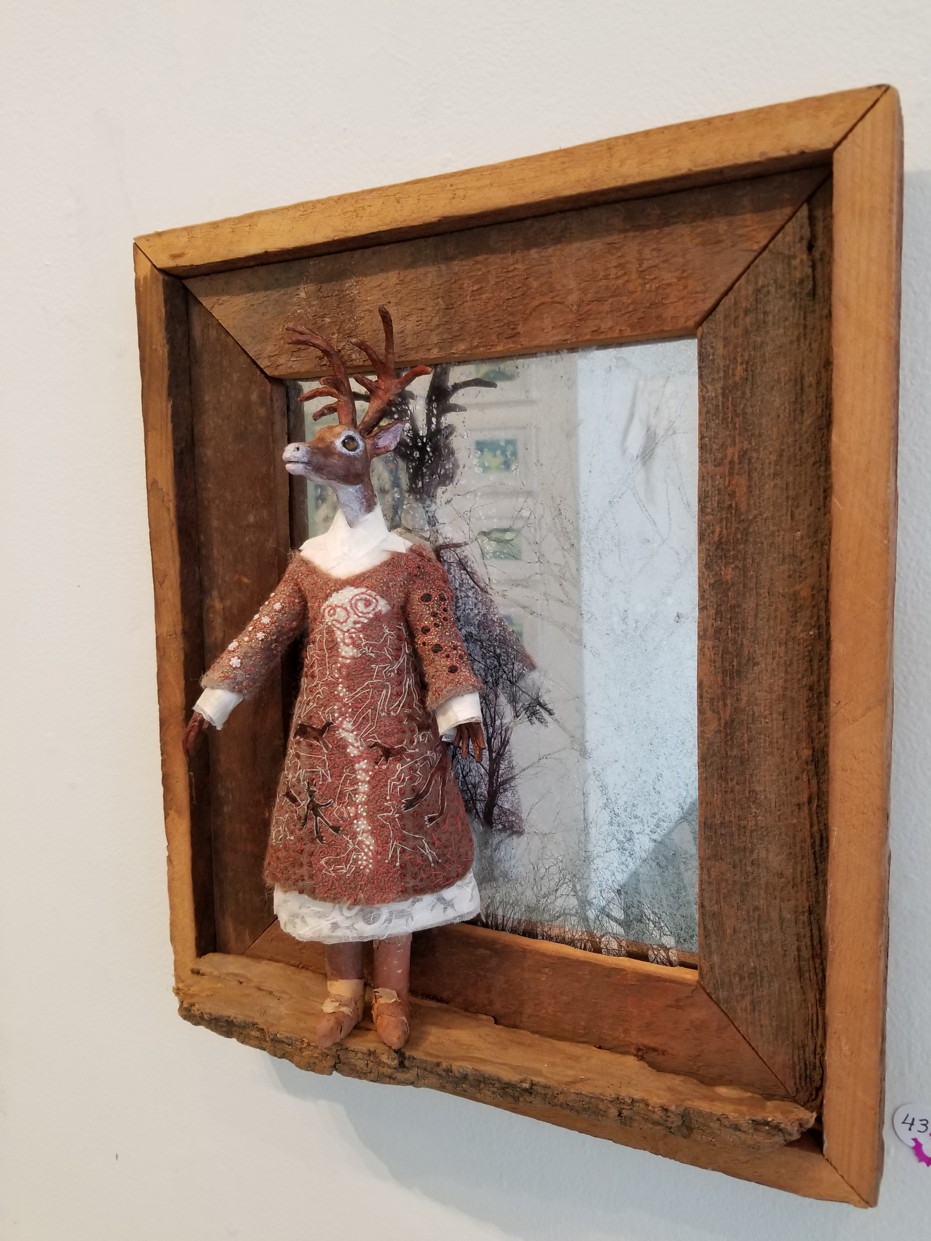 Forest Maid, deer woman, deer, wet felt, birch bark