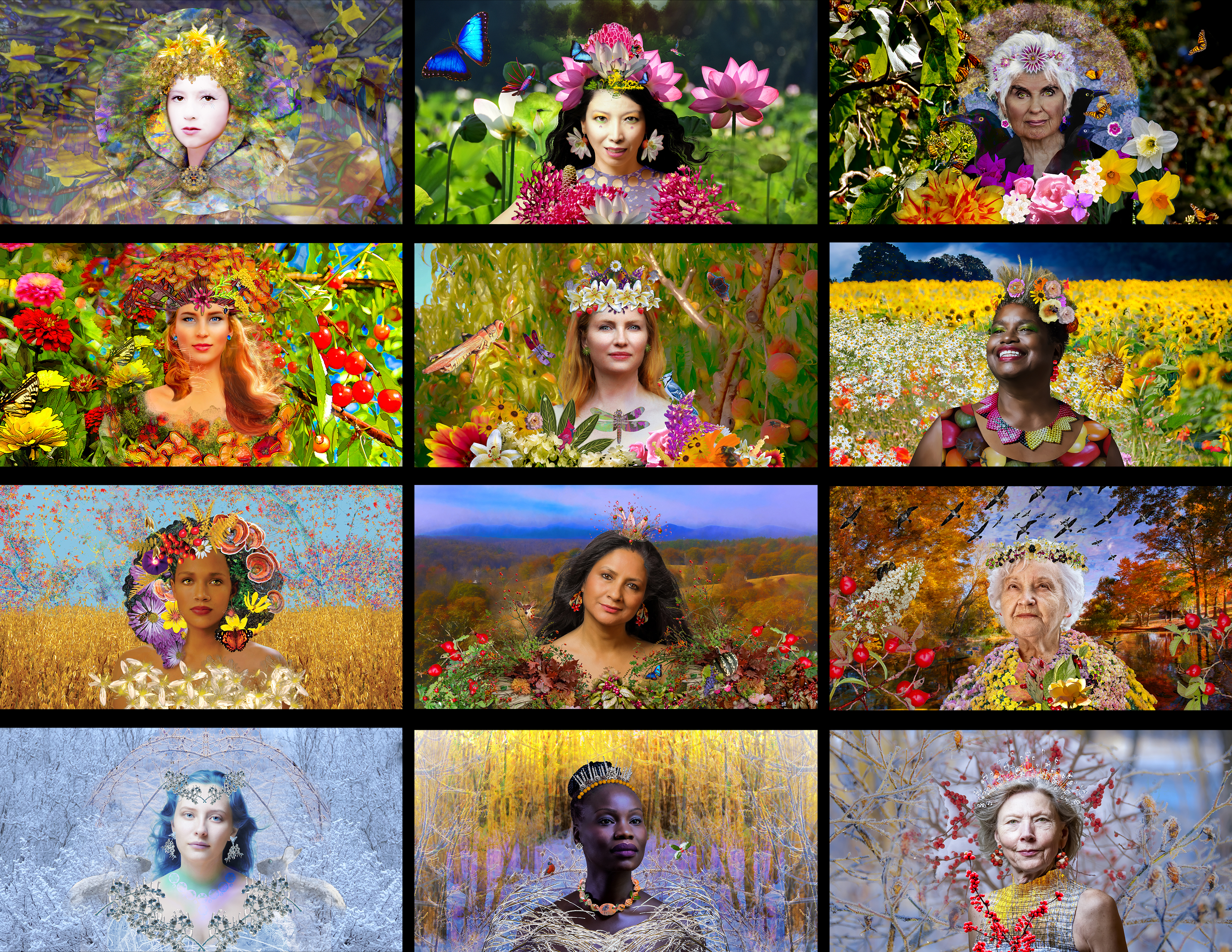 Four Seasons - Collage of work showing video background