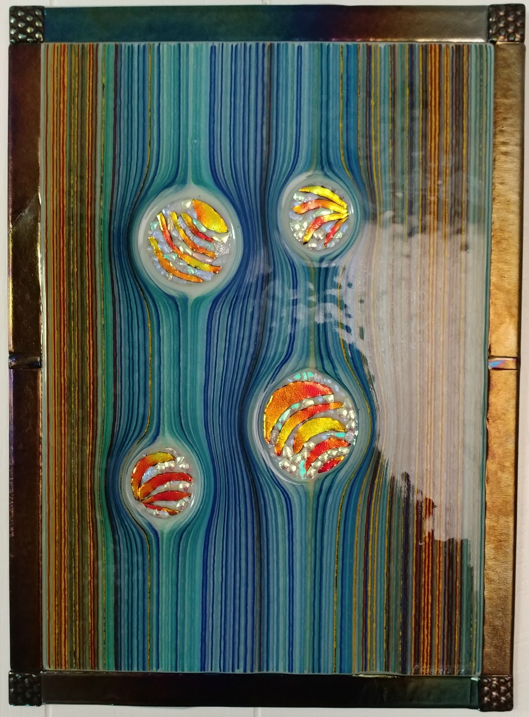 gravity waves, fused glass wall hanging