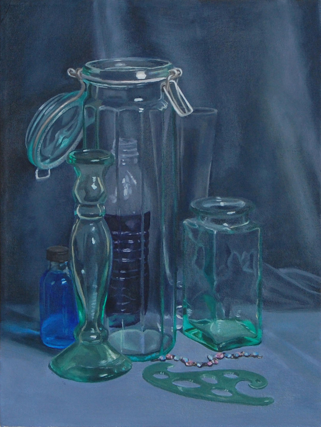 painting of green glass objects