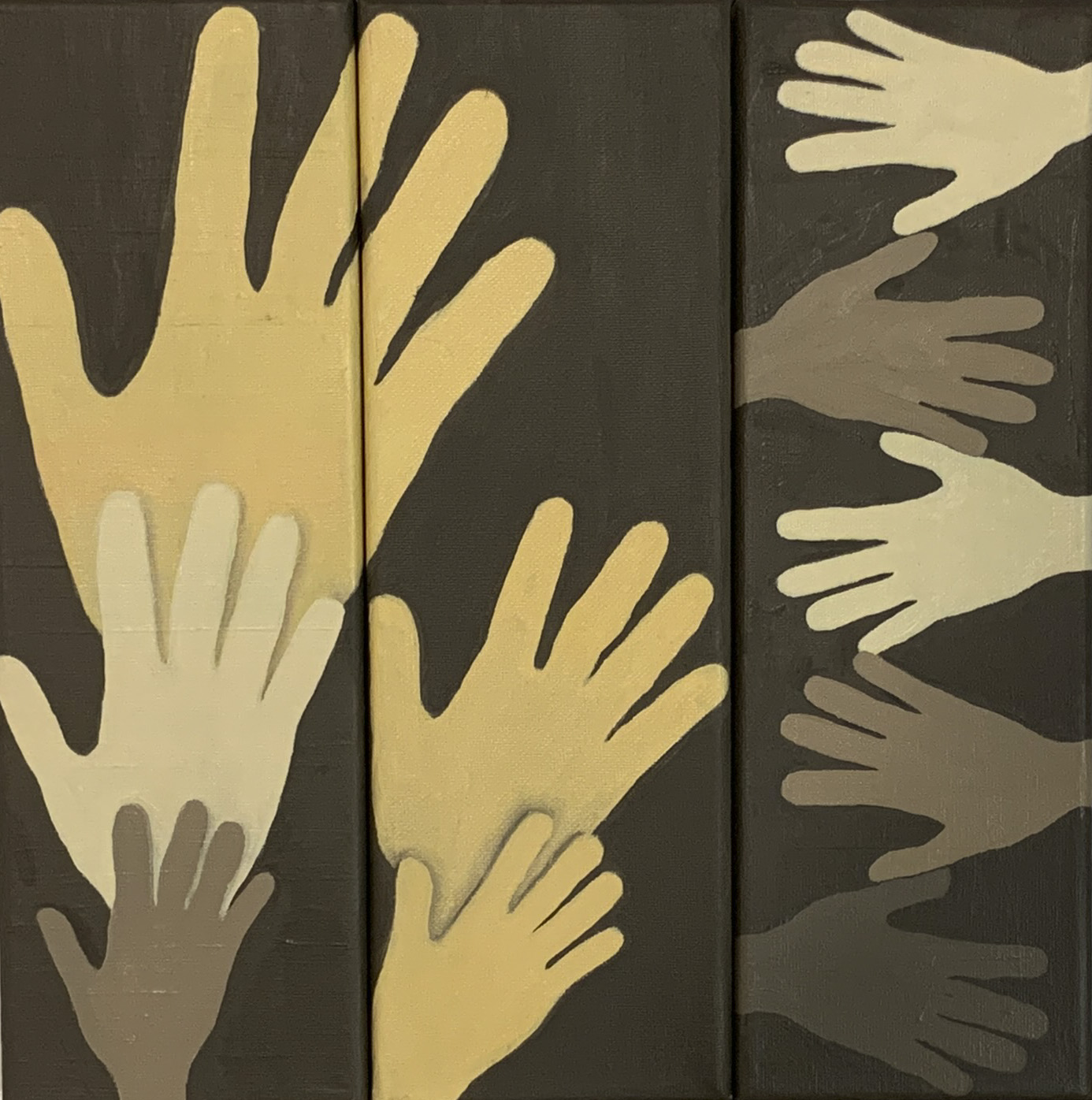 Hands of Color Harmony, 2020, oil on canvas, 12x4 (12x12 triptych)