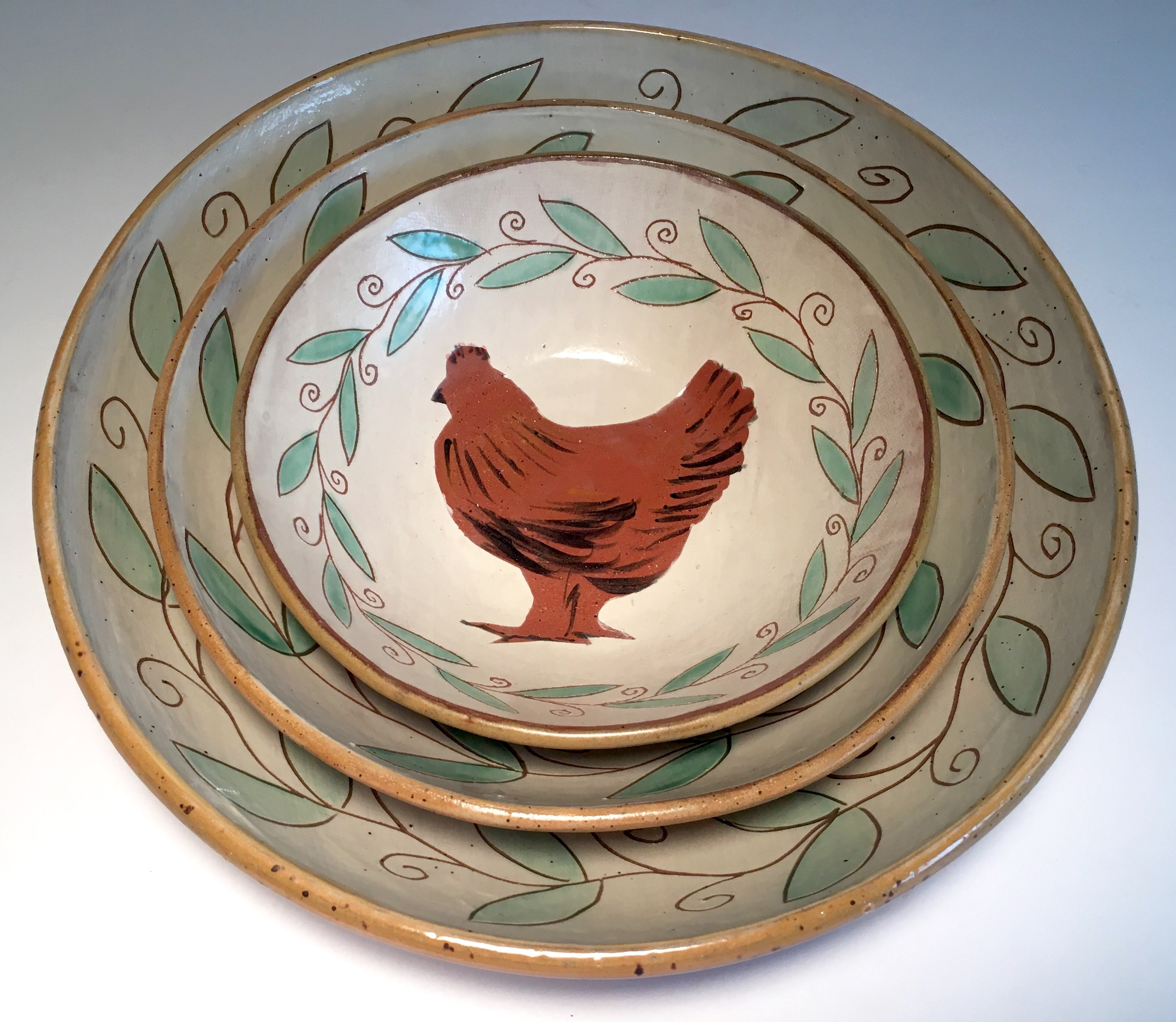 Jennifer Hamilton Ceramic Hen Bowl Set