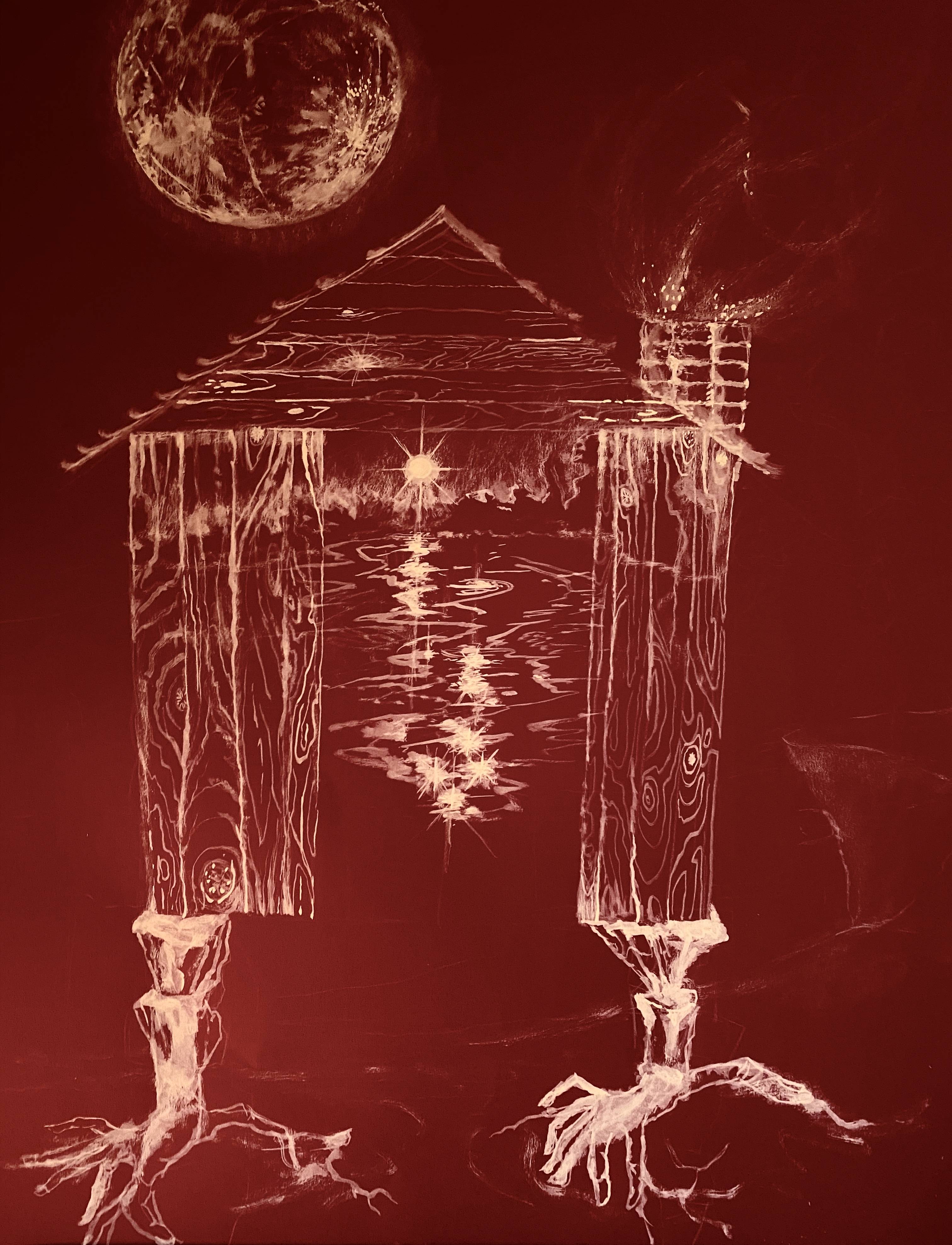 Human soul cabin on deep red paper