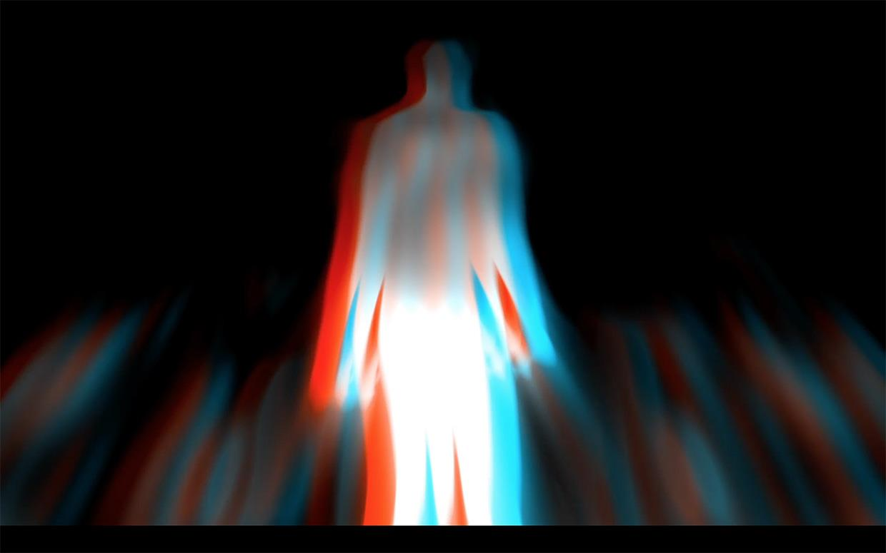 """A 3d """"anaglyph"""" video intended to be watched with red and cyan 3d glasses. This work is a hybrid of a live video performance and"""