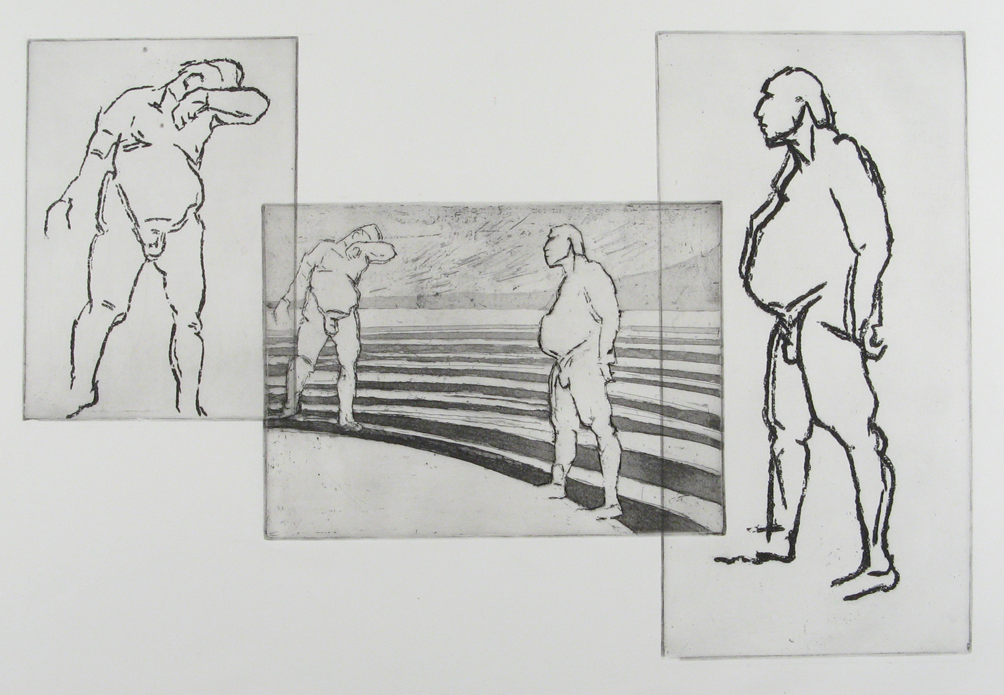 Etchings of two male figures in context