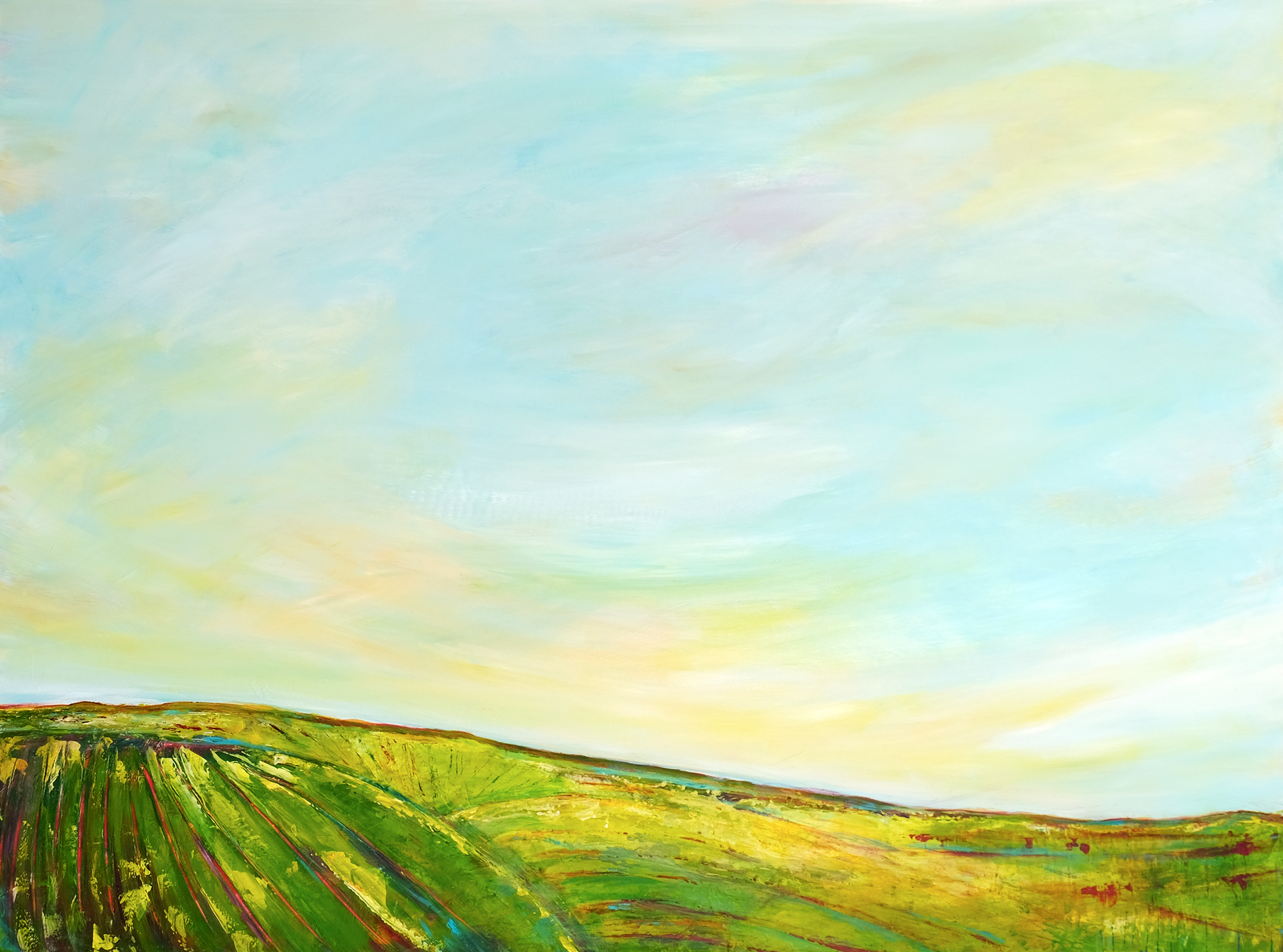 Horizon painting.  Low rolling hills in greens and golds under an expansive blue sky with golden light.