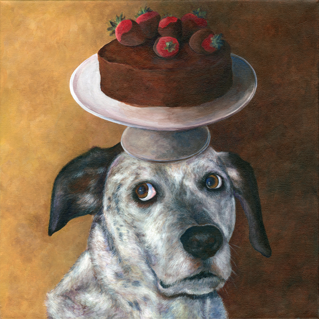 Dog Balancing Cake on her Head
