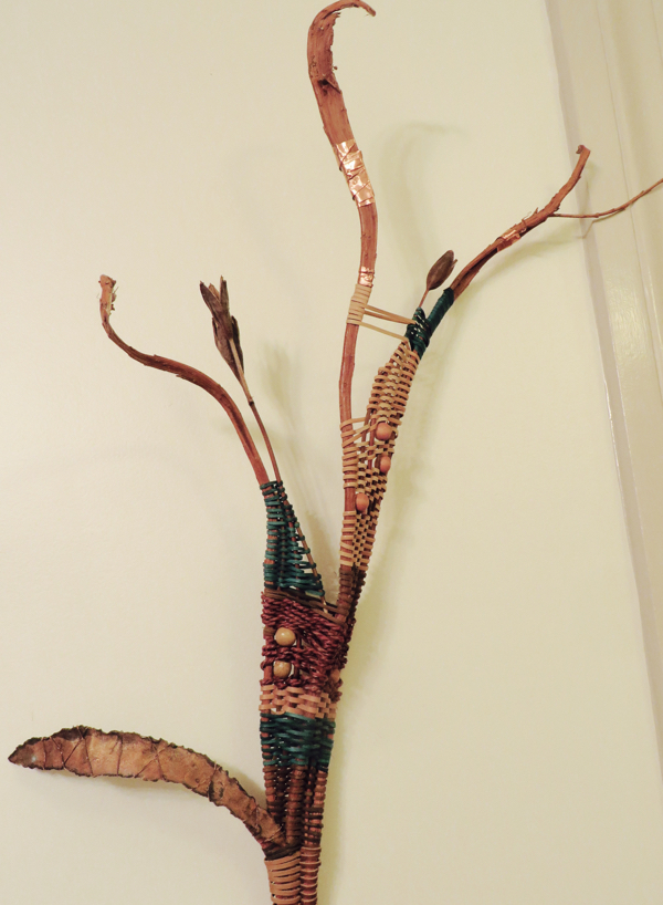 Elegant wall sculptures with copper, reed and marsh leaves.