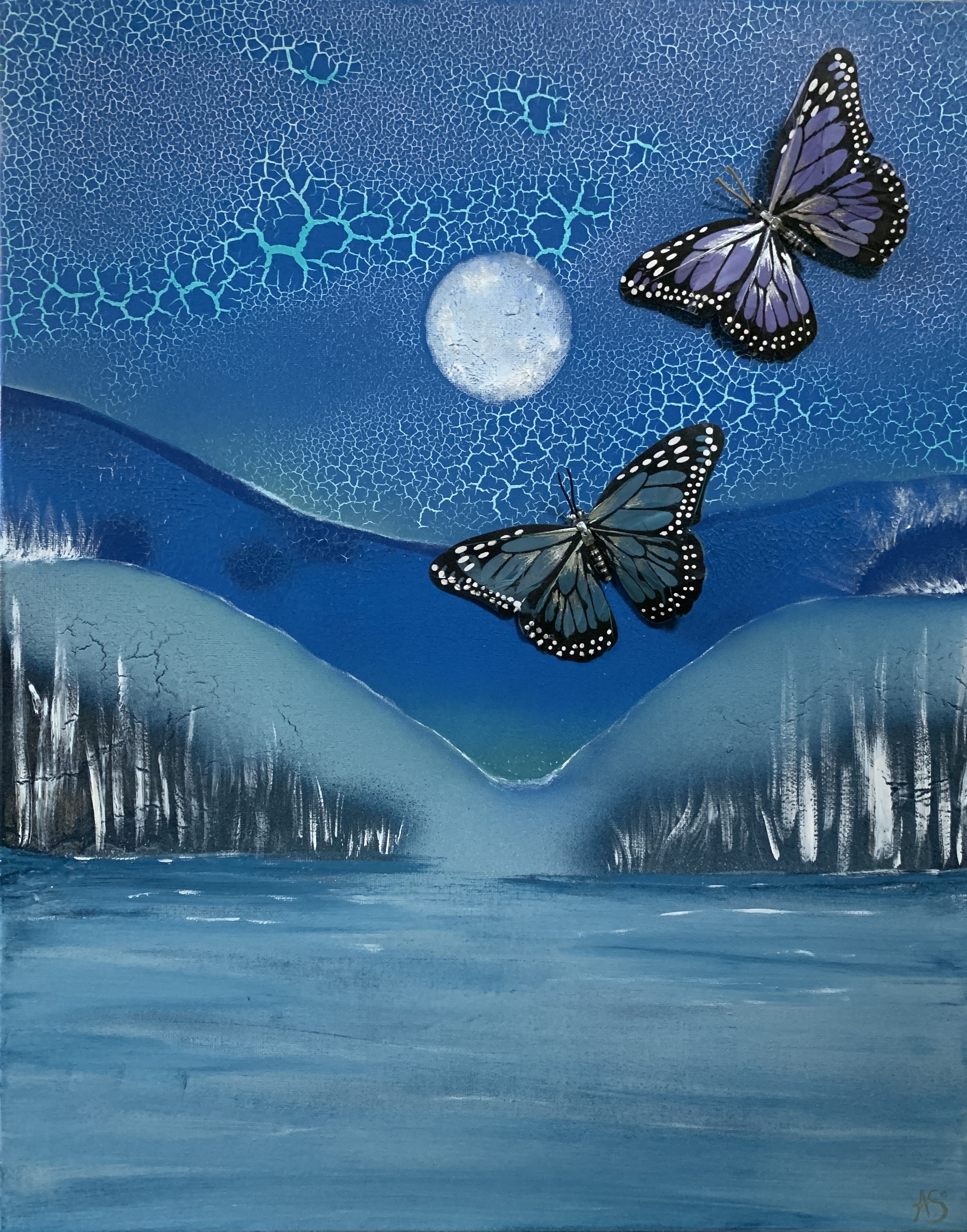 surreal landscape with surreal butterflies