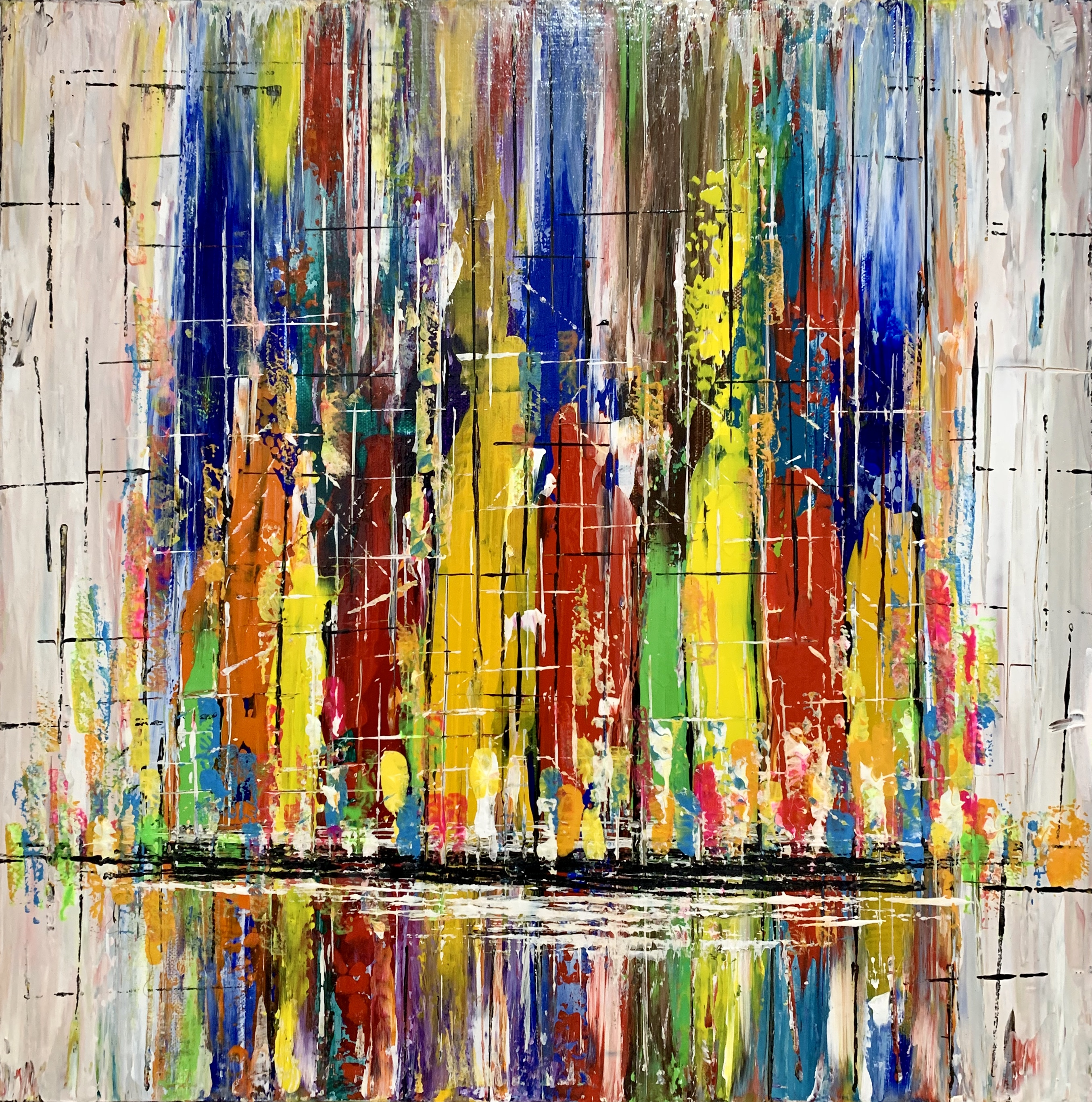 Abstract art depicting the liveliness of a downtown metropolis