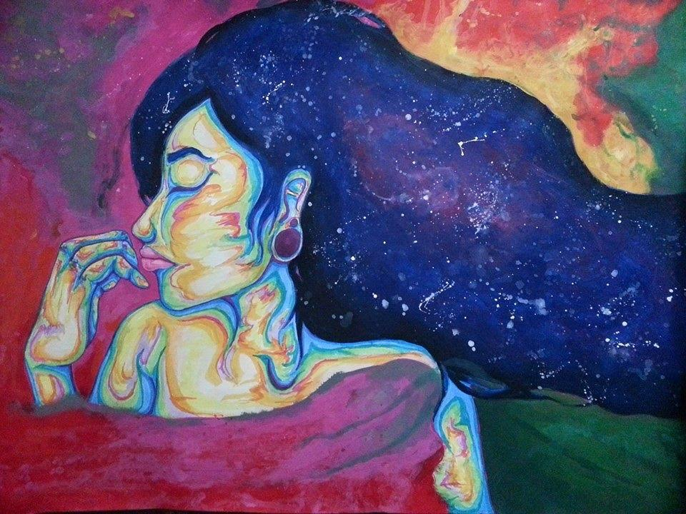 Rainbow skies clouds colors wind abstract surrealism woman stars galaxy