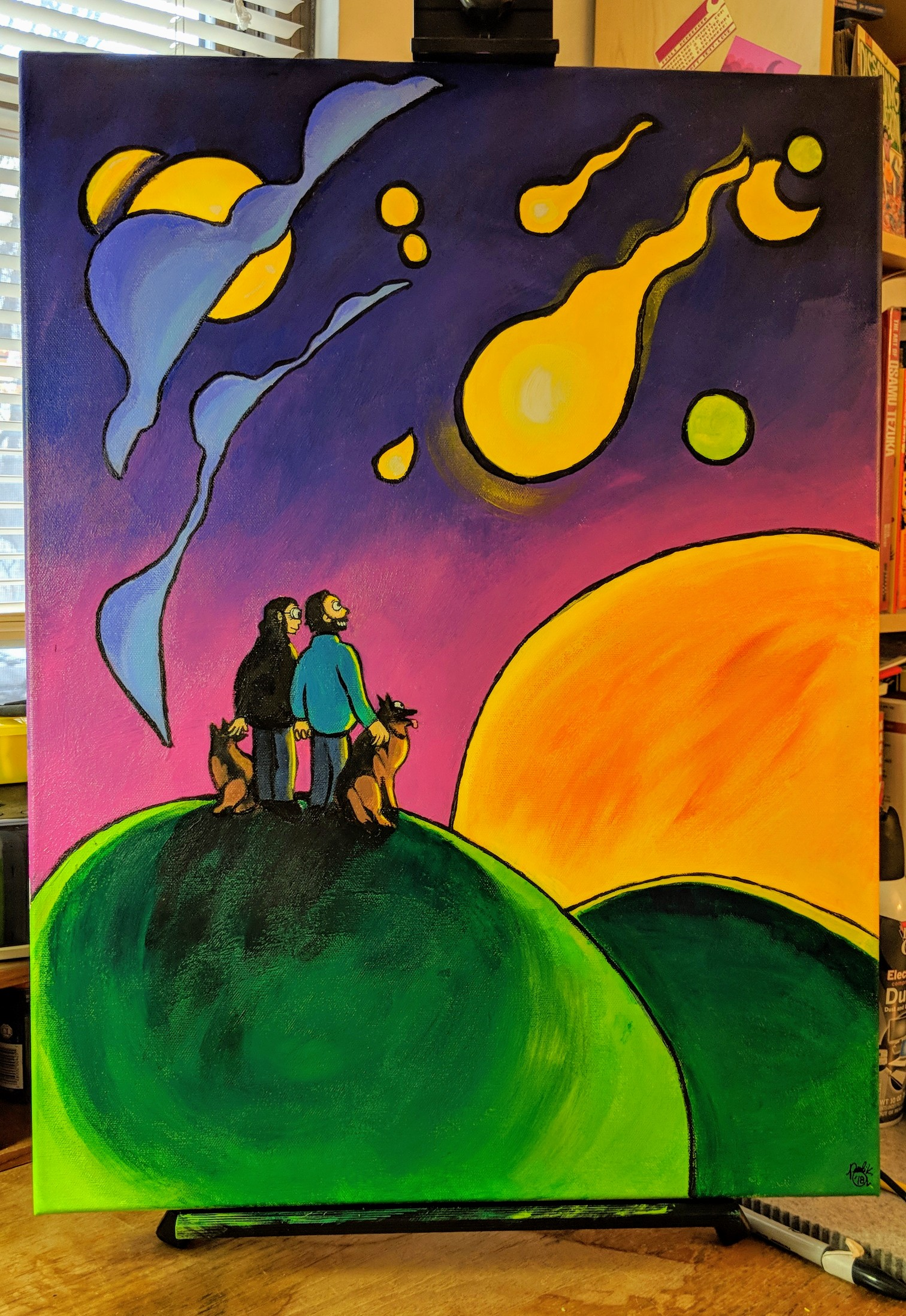 Untitled acrylic painting featuring a man and a woman looking up at a night sky