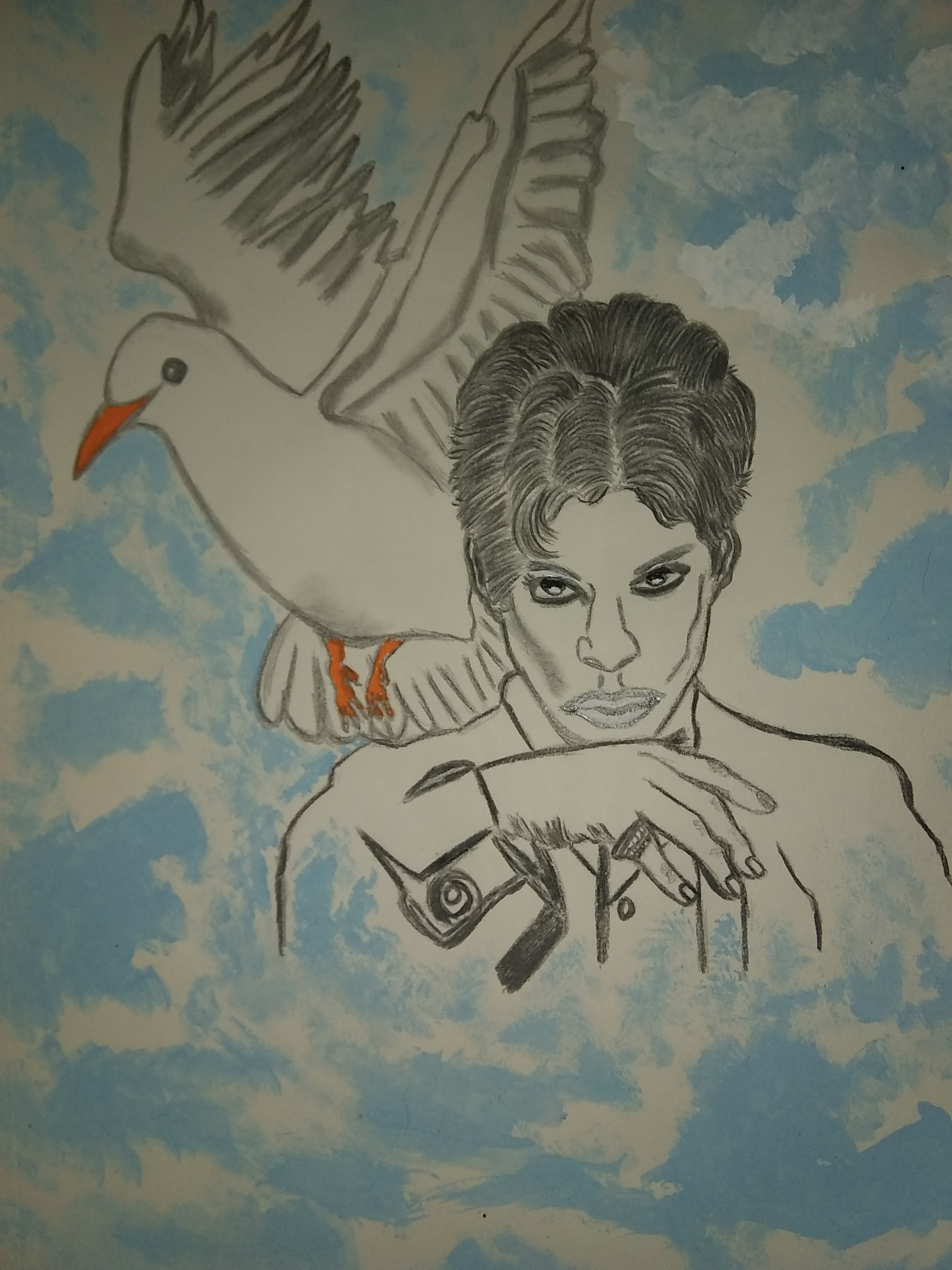Prince, celebrity, singer, musician, drawing, painting, portrait, mixed media, modern, Dove, birds, people