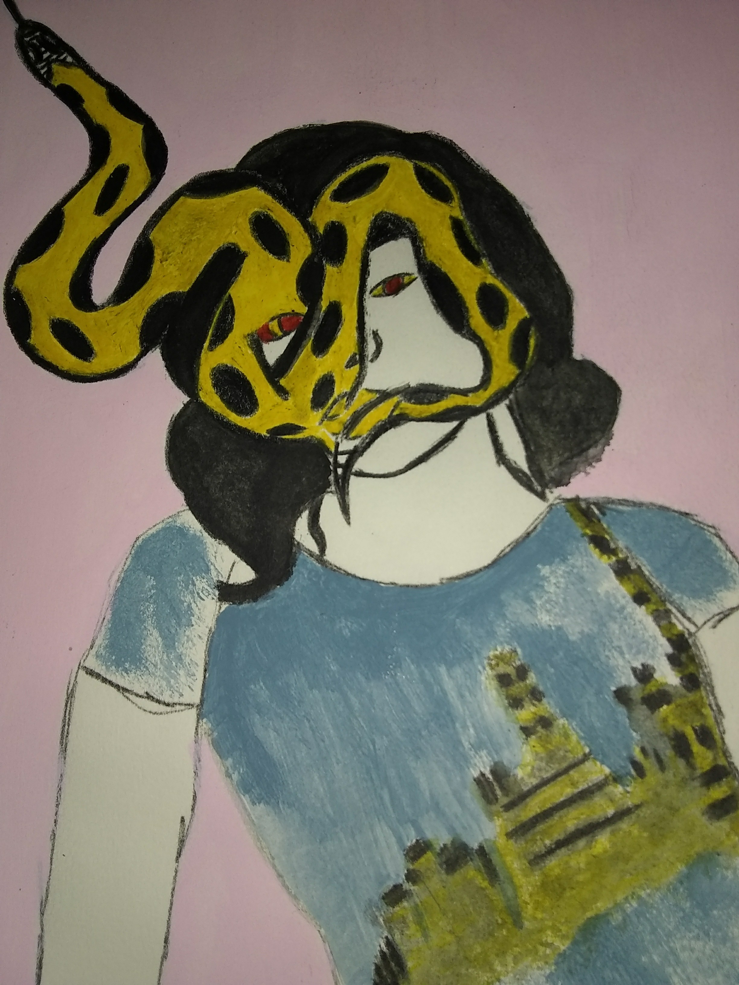 Snake, people, reptile, town, city, fashion, fantasy, pink, yellow, black, woman, portrait, modern, drawing, painting
